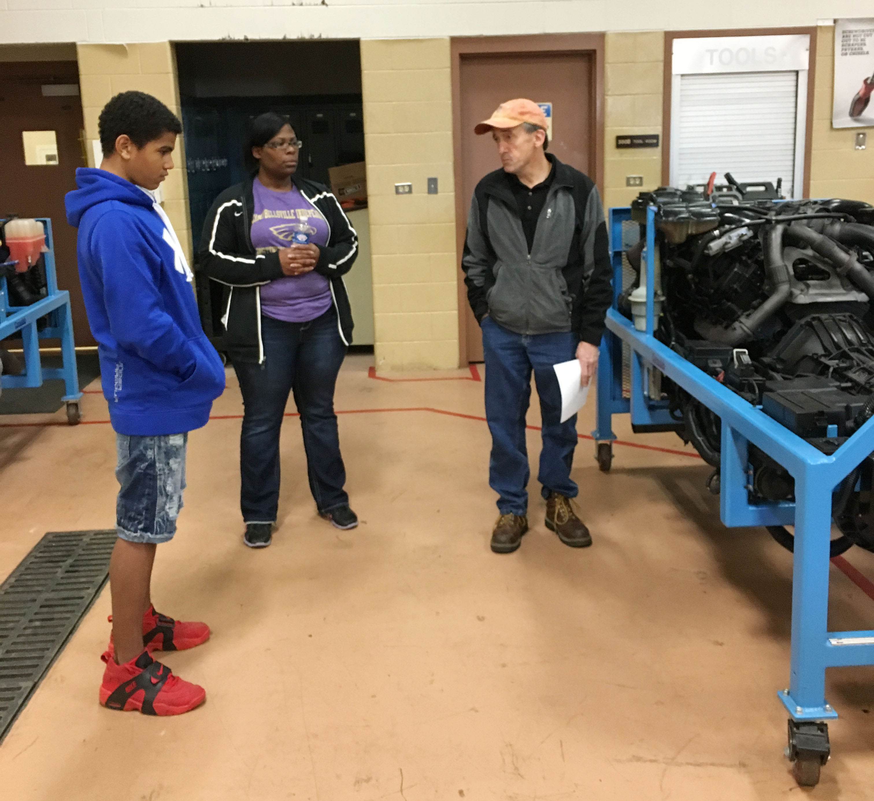 CMS eighth-grader Deion Harris, at left, and Eagle Academy instructor Tiarra Cecil tour Elizabethtown Community & Technical College.