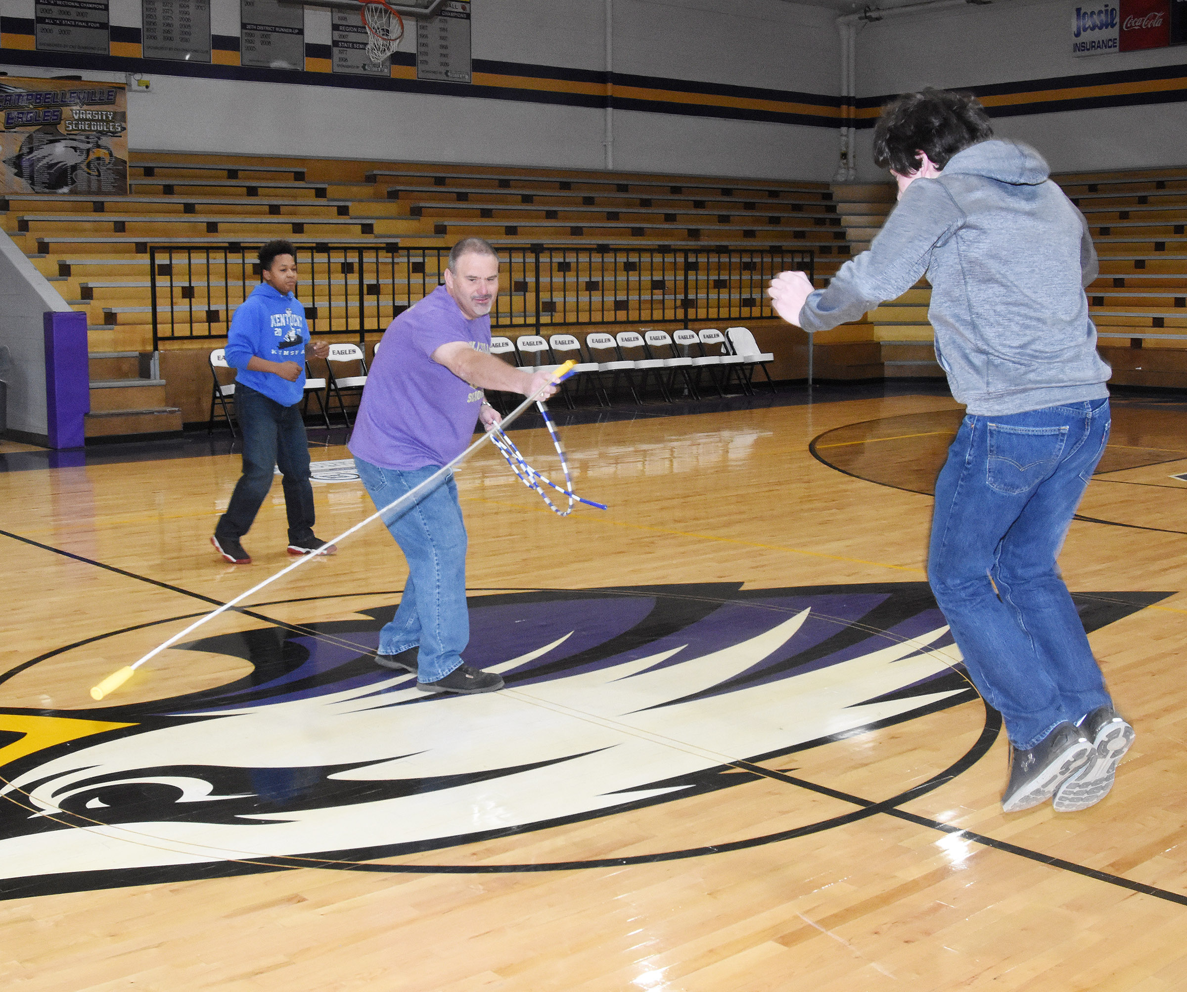 CMS students play Jake the Snake spirit game, led by teacher Michael Despain. Eighth-grader Peyton Dabney was the winner.