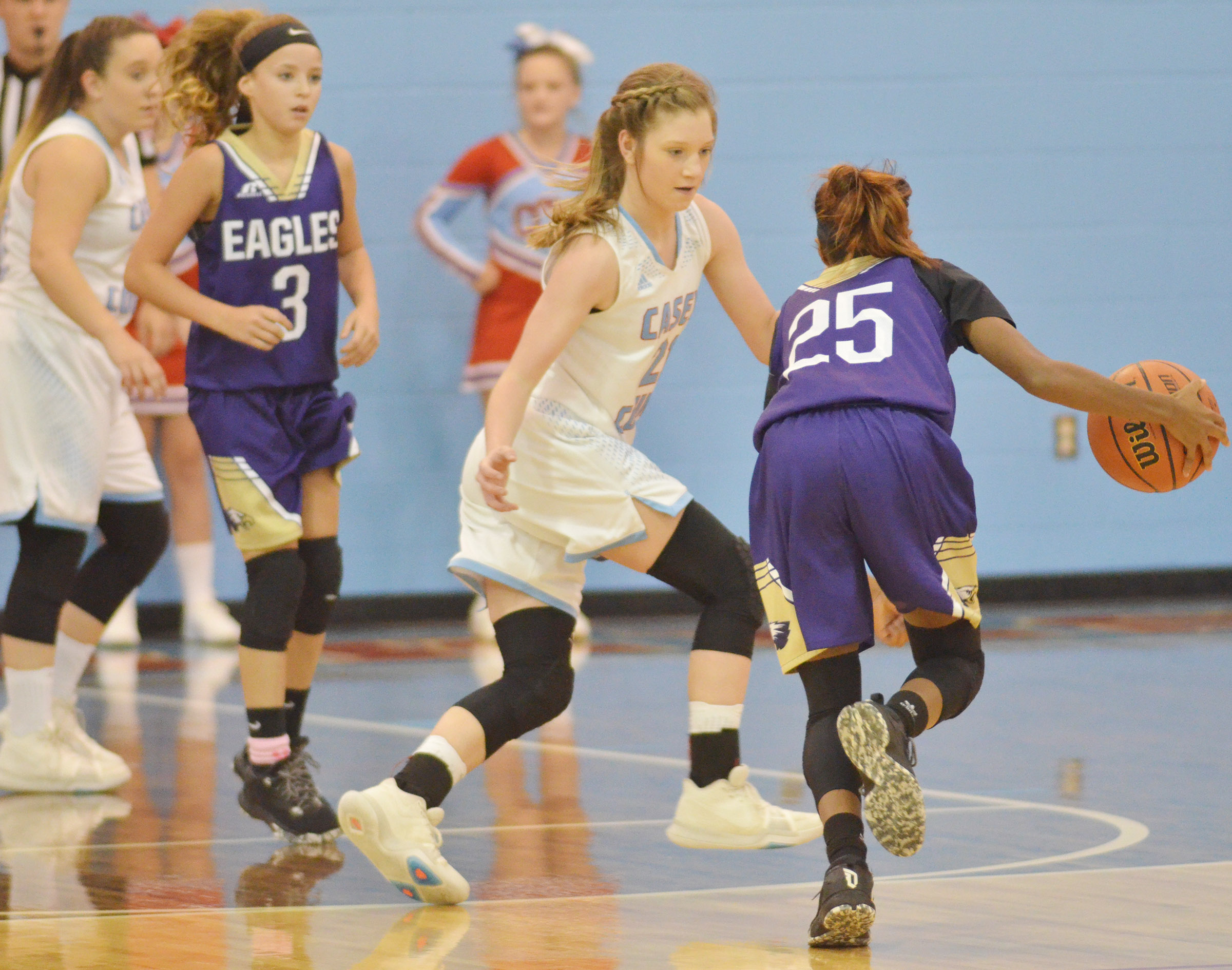 CMS eighth-grader Bri Gowdy drives the ball.