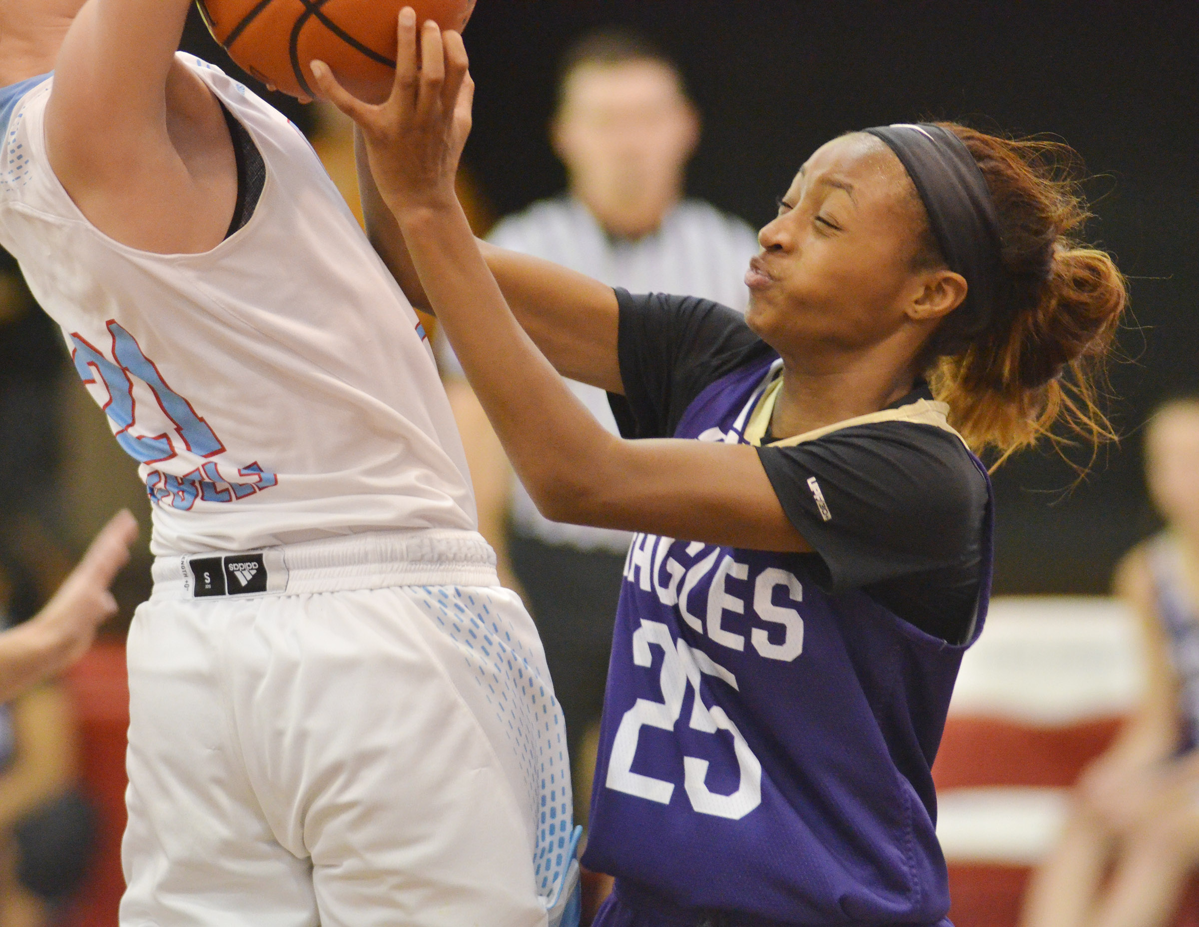 CMS eighth-grader Bri Gowdy fights for the ball.