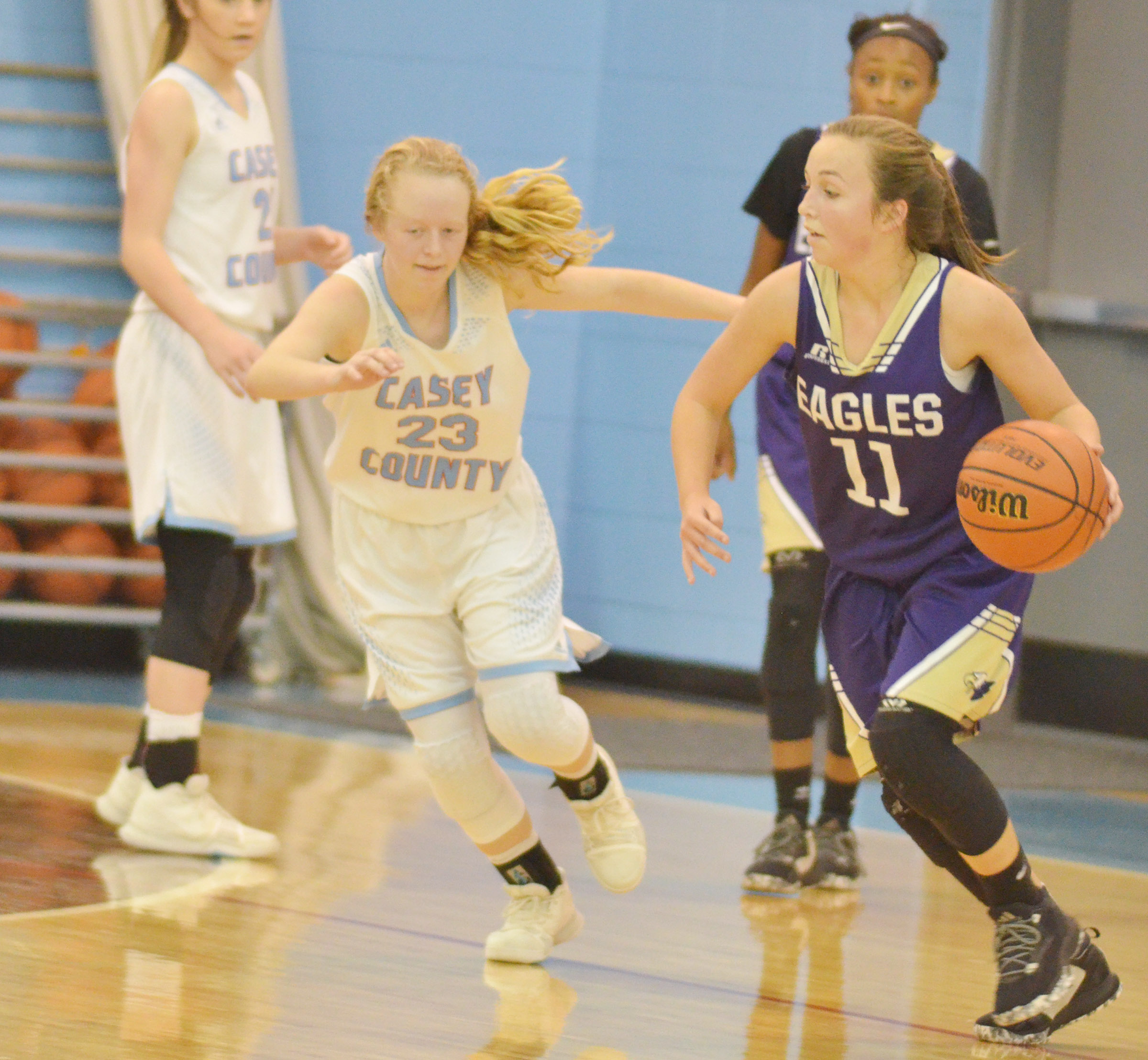 CMS eighth-grader Lainey Watson dribbles to the basket.