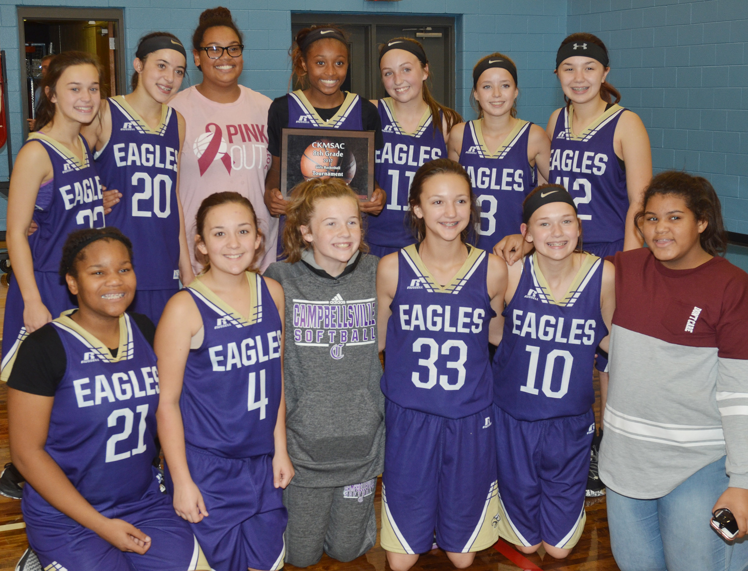 Campbellsville Middle School girls' eighth-grade basketball team recently won its first Central Kentucky Middle School Athletic Conference tournament championship title in 20 years. From left, front, are seventh-graders Antaya Epps, Briana Davis, Dakota Slone, Bri Hayes, BreAnna Humphress and Asia Barbour. Back, eighth-graders Tayler Thompson, Kaylyn Smith, Brae Washington, Bri Gowdy, Lainey Watson, Rylee Petett and Olivia Fields.