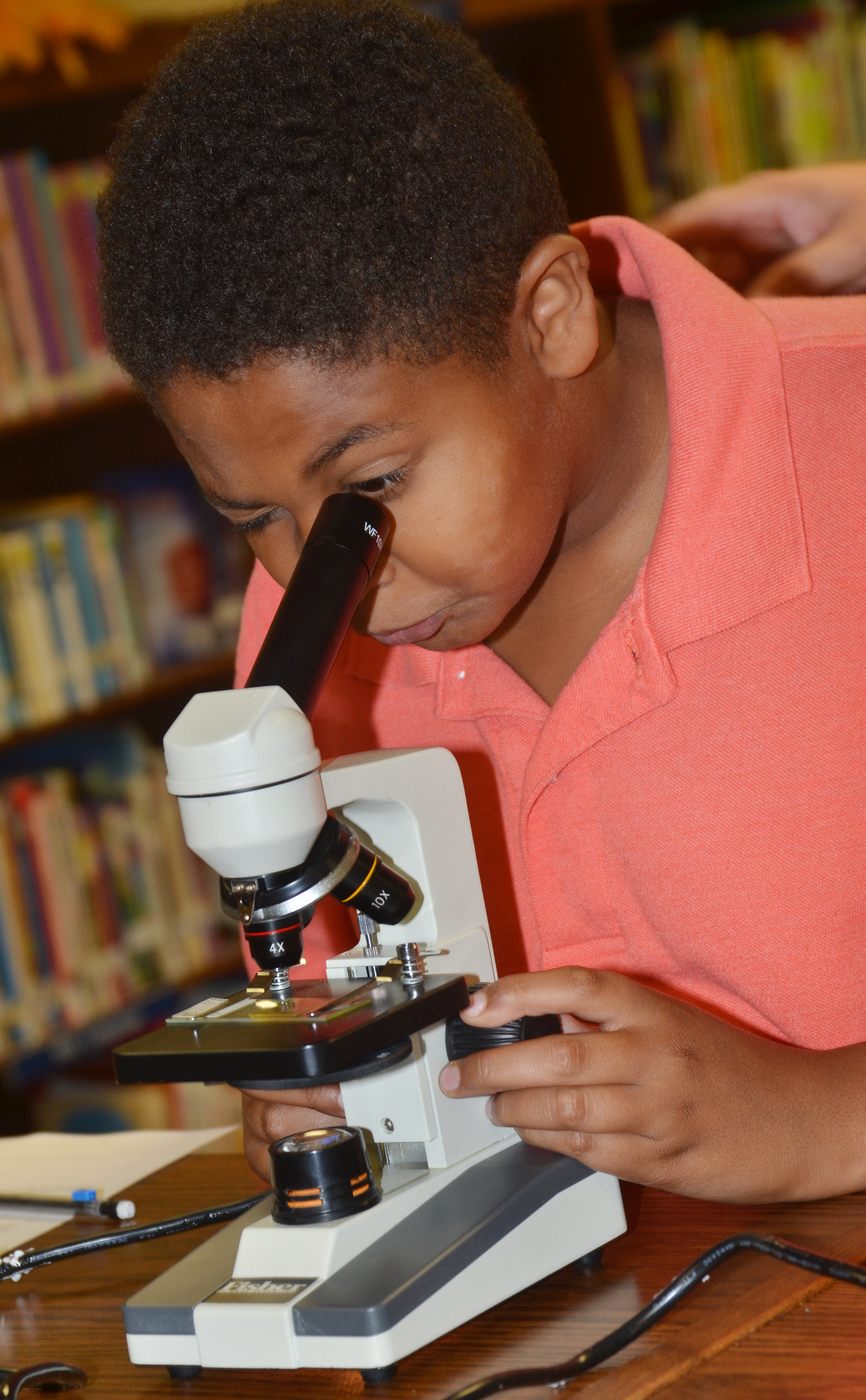 CMS seventh-grader Ronin Smith looks at a rabbit's spinal cord through a microscope.