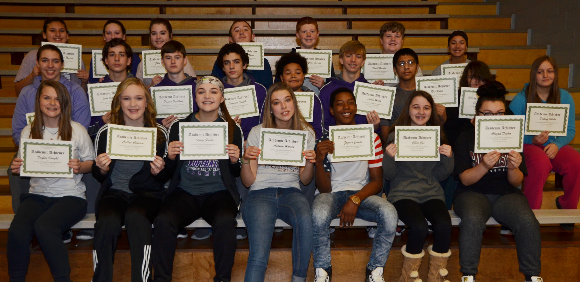 CMS eighth-graders are honored for scoring all proficient/distinguished on last school year's K-PREP exams.