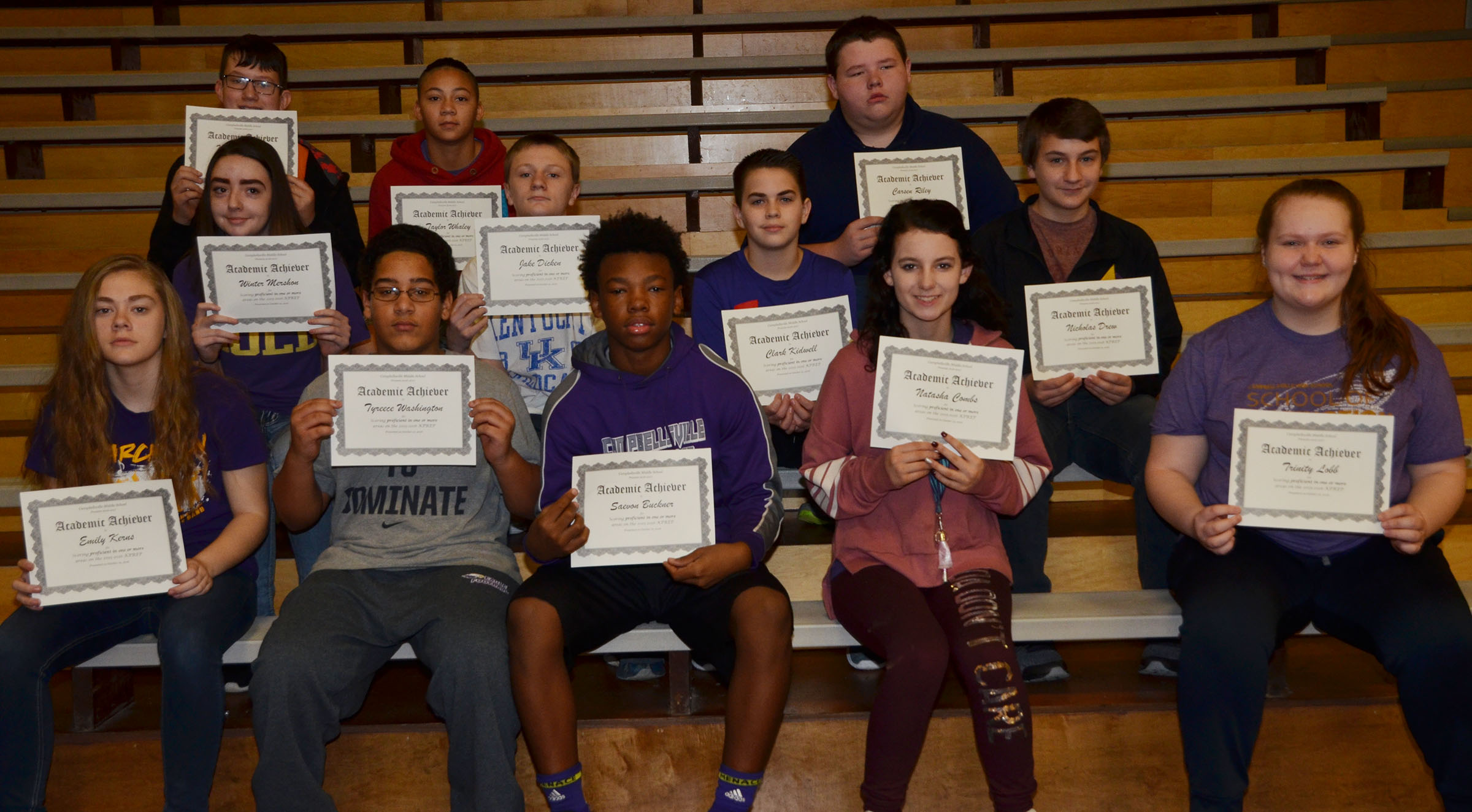 CMS eighth-graders are honored for scoring proficient in one or more areas on last school year's K-PREP exams.