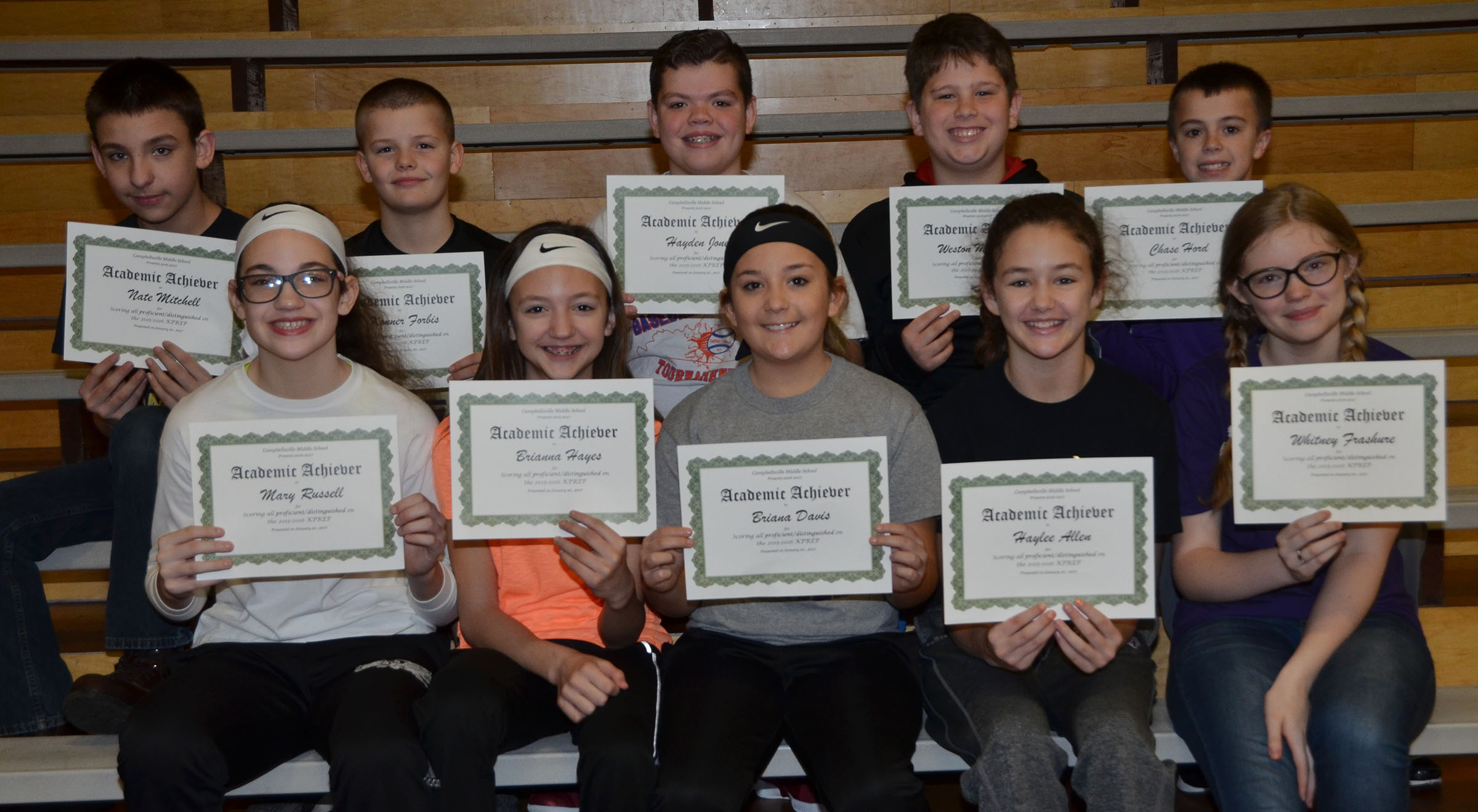 CMS sixth-graders are honored for scoring all proficient/distinguished on last school year's K-PREP exams.