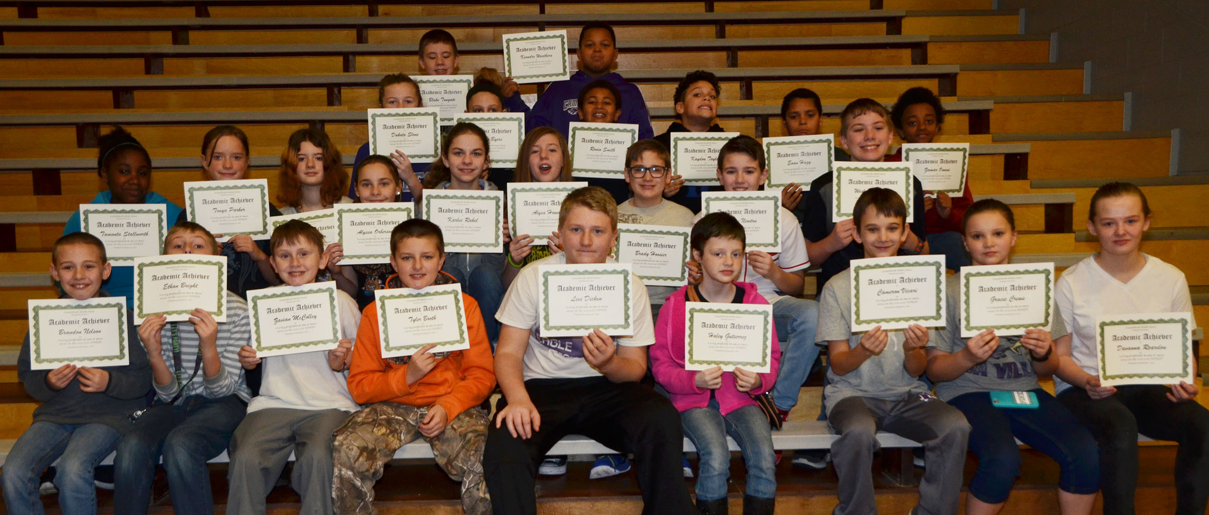 CMS sixth-graders are honored for scoring proficient in one or more areas on last school year's K-PREP exams.