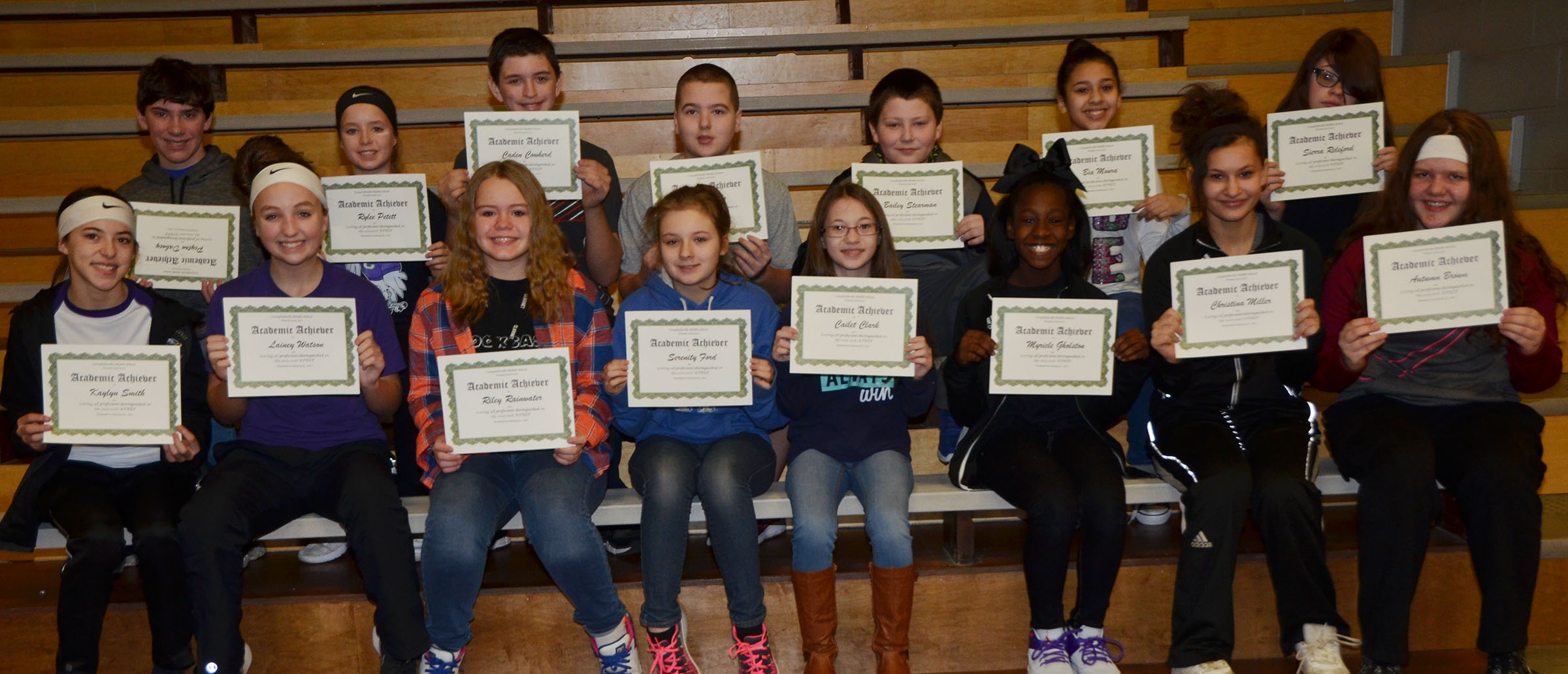 CMS seventh-graders are honored for scoring all proficient/distinguished on last school year's K-PREP exams.