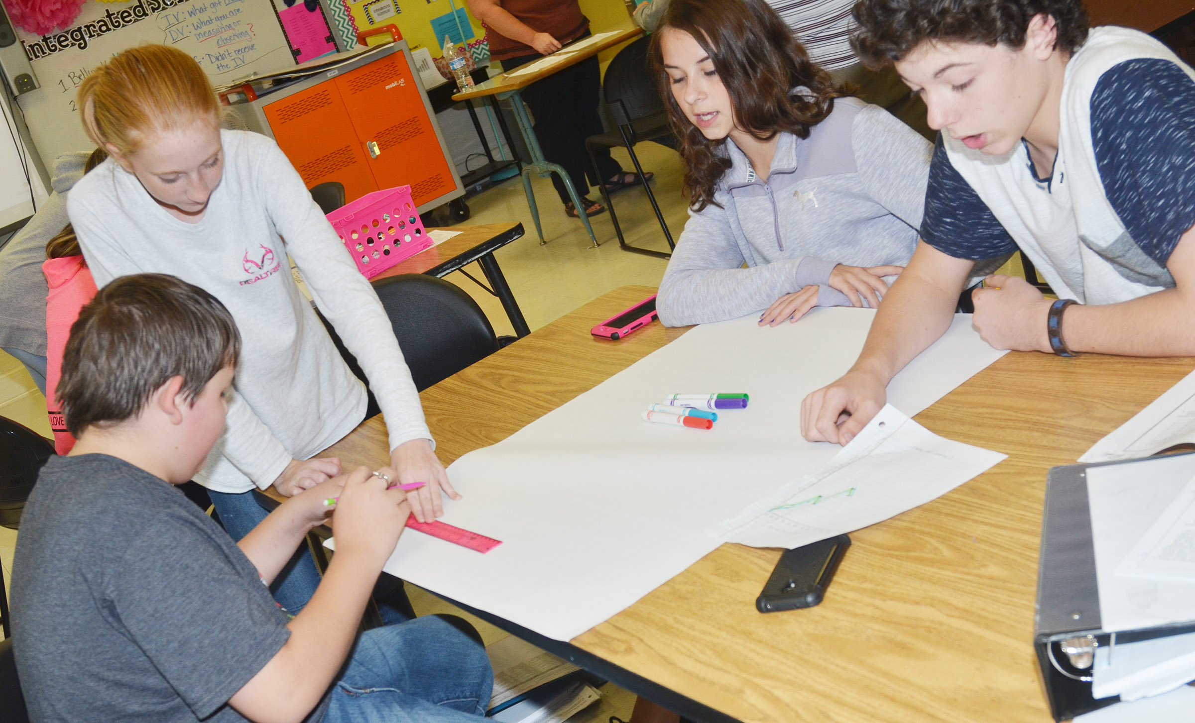 From left, CMS eighth-graders Kaine Terry, Hayley Wethington, Chloe Anderson and C.J. Adams create their graph.