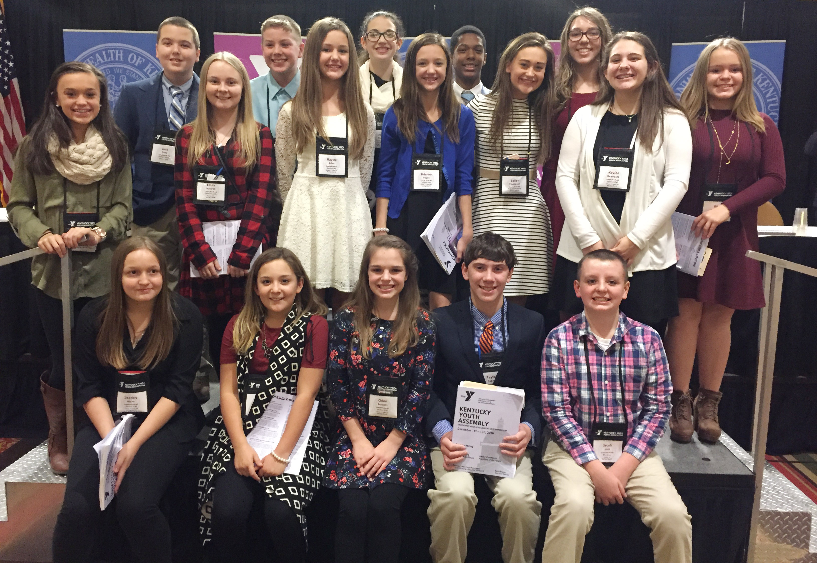 Students attending this year's KYA convention include, from left, front, eighth-grader Destiny Hicks, sixth-grader Briana Davis, eighth-grader Chloe Bennett, seventh-grader Peyton Dabney and sixth-grader Jacob Judd. Second row, seventh-grader Tayler Thompson, eighth-grader Emily Hayden, sixth-graders Haylee Allen and Bri Hayes, CHS freshman Bailey Thompson and seventh-graders Kaylee Reynolds and Riley Rainwater. Back, seventh-grader Jack Sabo, sixth-grader Wesley Reynolds, sixth-grader Mary Russell and eighth-graders Zaquan Cowan and Abi Wiedewitsch.