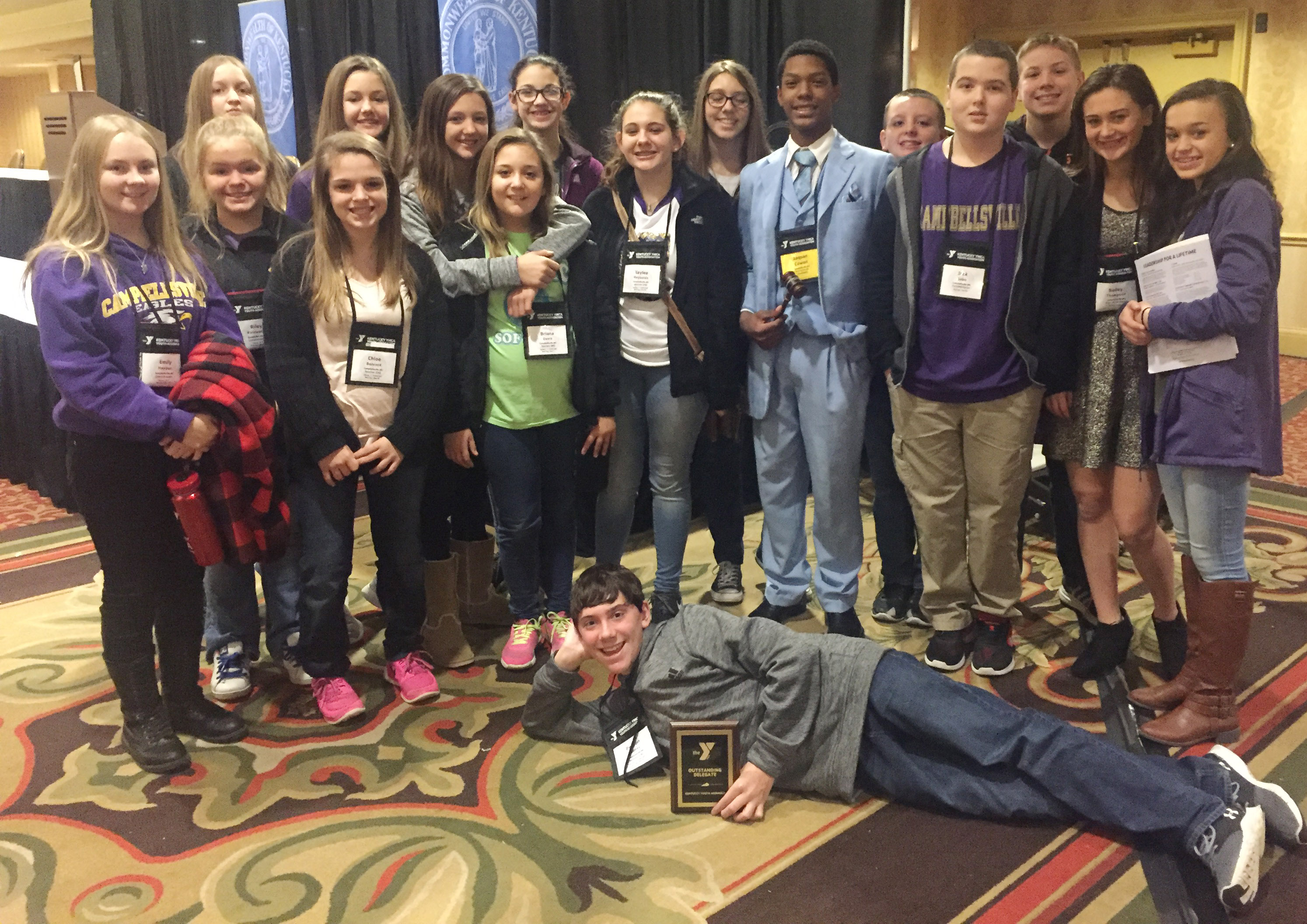 Students attending this year's KYA convention include, in front, seventh-grader Peyton Dabney, and, from left, second row, eighth-grader Emily Hayden, seventh-grader Riley Rainwater, eighth-grader Chloe Bennett, sixth-grader Briana Davis, eighth-graders Kaylee Reynolds and Zaquan Cowan, seventh-grader Jack Sabo, CHS freshman Bailey Thompson and seventh-grader Tayler Thompson. Back, eighth-grader Destiny Hicks, sixth-graders Haylee Allen, Bri Hayes and Mary Russell, eighth-grader Abi Wiedewitsch and sixth-graders Jacob Judd and Wesley Reynolds.