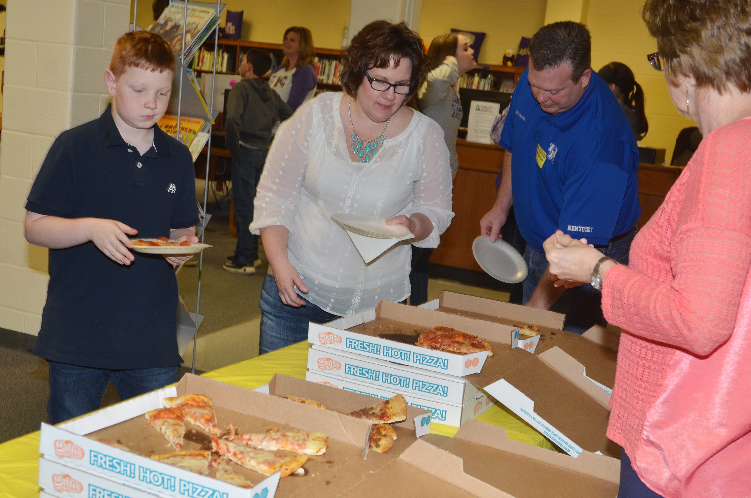 CMS fifth-grader Conner Rinehart and his parents, Tracey and Greg, are treated to a special lunch. Mrs. Rinehart is a second-grade teacher at Campbellsville Elementary School.