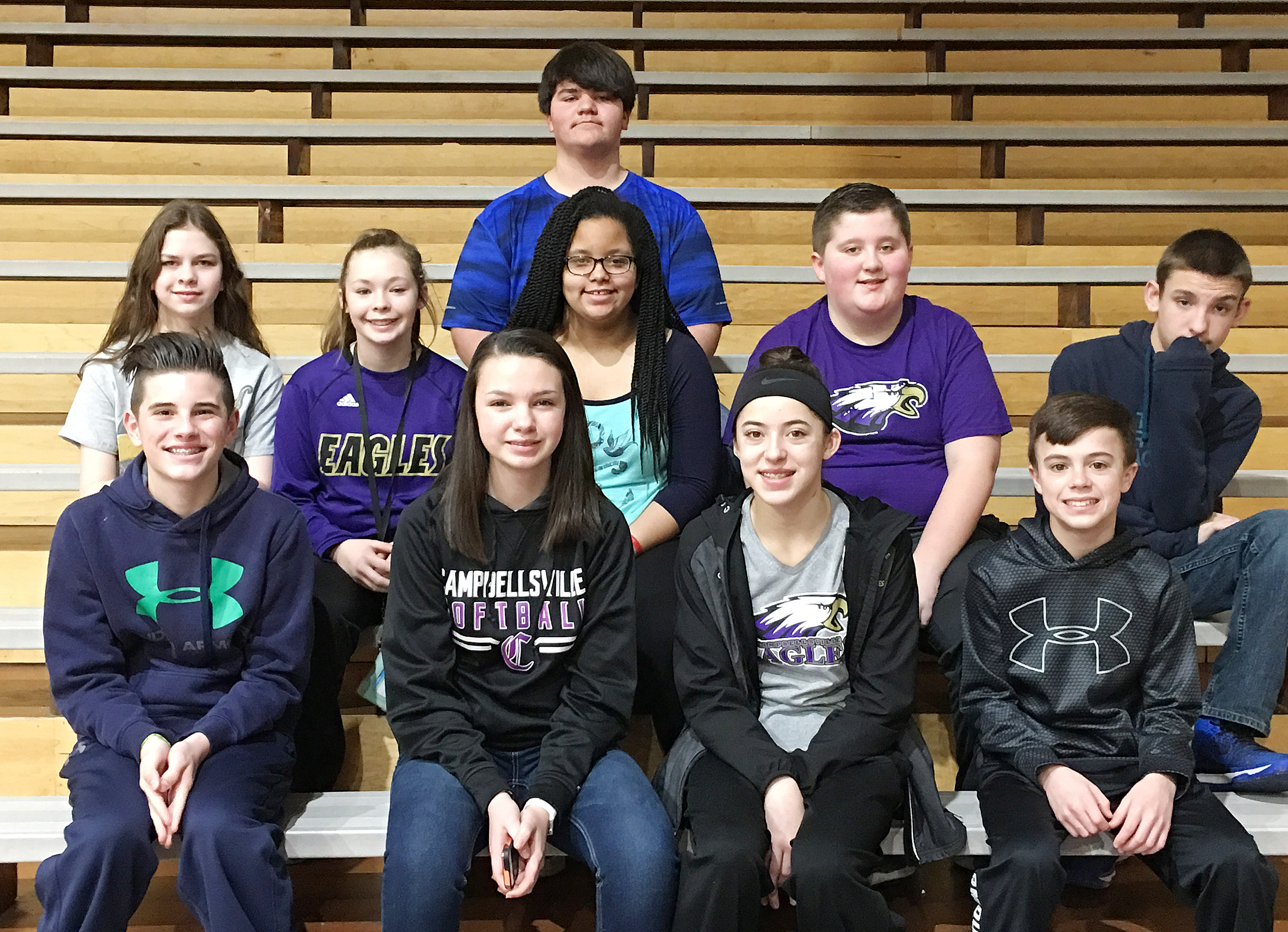 From left, front, are sixth-grader Isaac Garrison, eighth-graders Karley Morris and Kaylyn Smith and seventh-grader Chase Hord. Second row, seventh-grader Karlee Rakel, sixth-graders CheyAnn Edwards, Kiara Graves and Luke McDonald and seventh-grader Nate Mitchell. Back, eighth-grader Logan Rakes. Absent from the photo are seventh-grader Bri Hayes and eighth-grader Joseph Mayes.