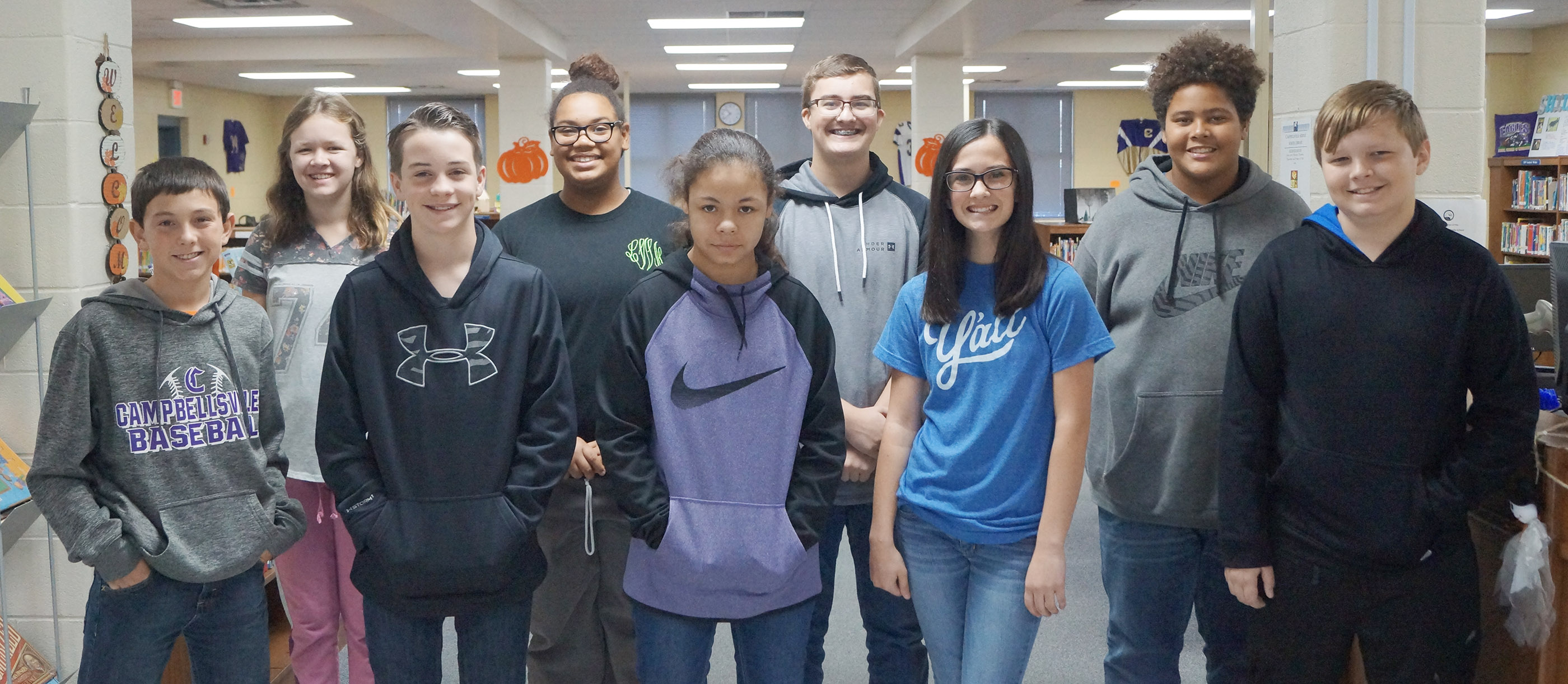 From left, front, are eighth-grader Dakota Harris, seventh-grader Sean Mings, sixth-grader Jayla Penn, eighth-grader Sarah Adkins and sixth-grader Hunter Falls. Back, seventh-grader McCayla Falls, eighth-grader Brae Washington, seventh-grader Connor Byrd and eighth-grader Brandon Pittman. Not pictured are sixth-graders Diego Noyola and Chloe Mitchell and seventh-grader Briana Davis.