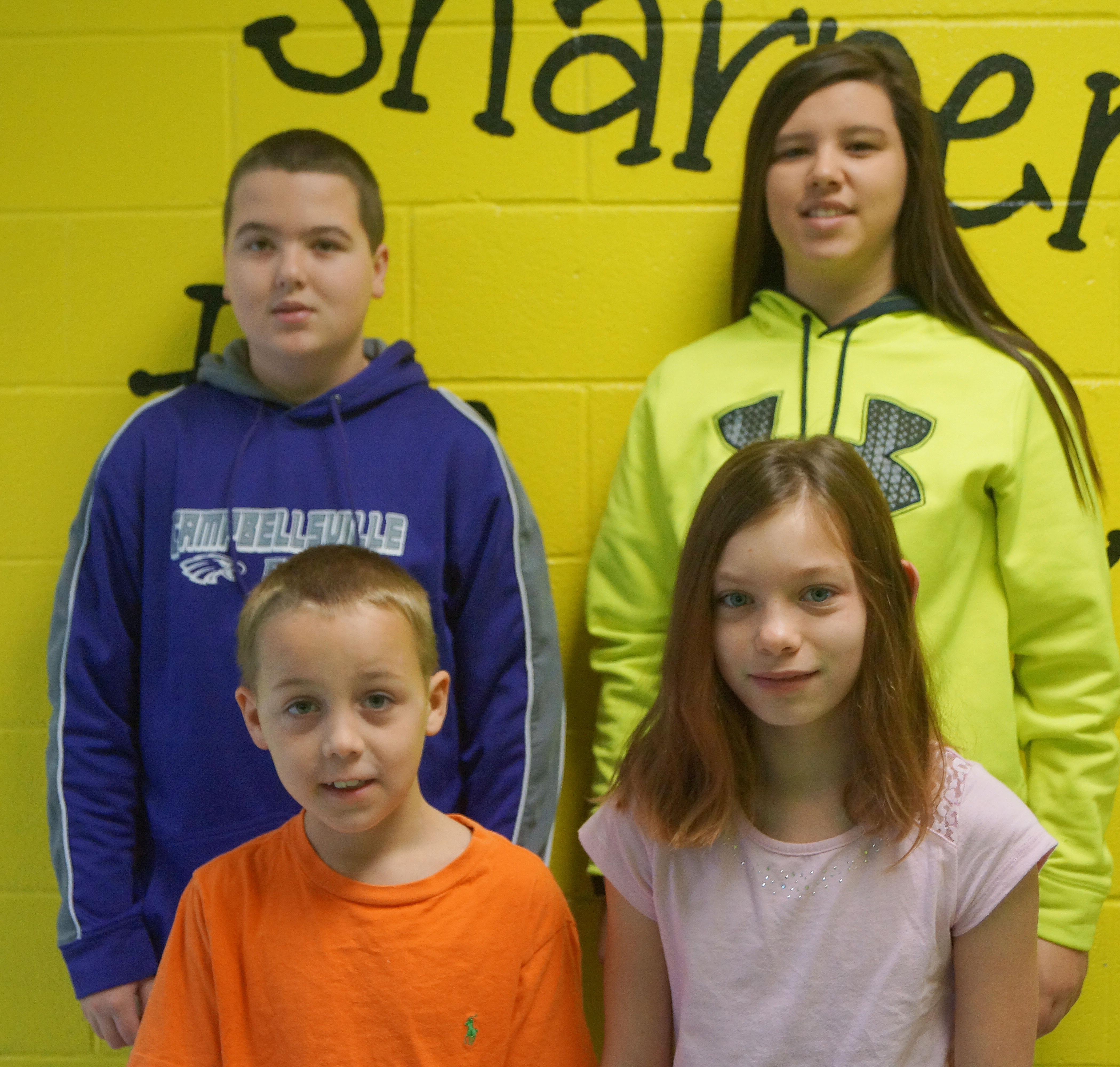 In front are fourth-grader Spencer Bates and fifth-grader Shaylee Cox. Back, seventh-grader Jack Sabo and eighth-grader Hannah Keith. Sixth-grader Hayden Jones isn't pictured.