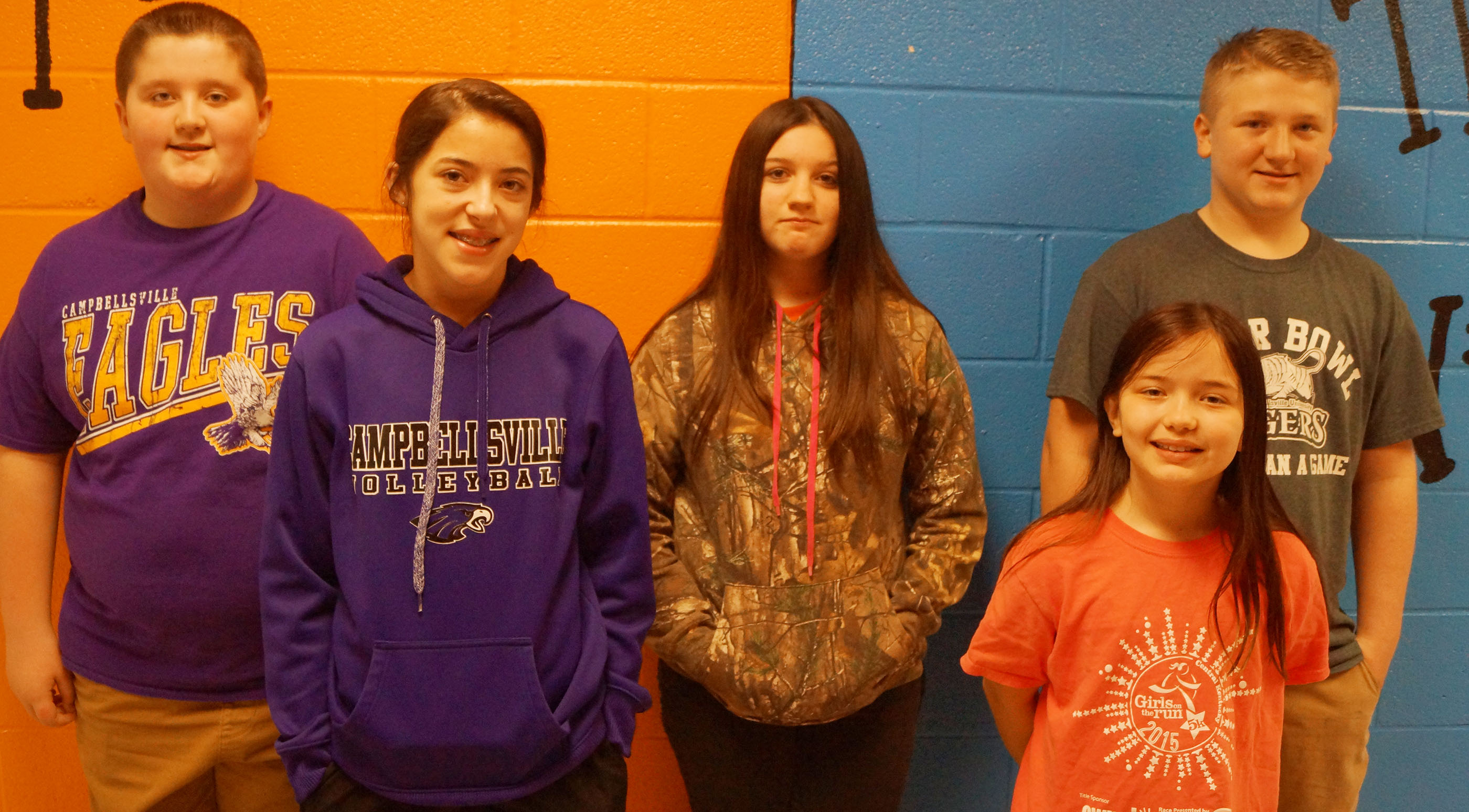 From left are fifth-grader Luke McDonald, seventh-grader Kaylyn Smith, eighth-grader Paula Hoskins, fourth-grader Kate Billeter and sixth-grader Levi Dicken.