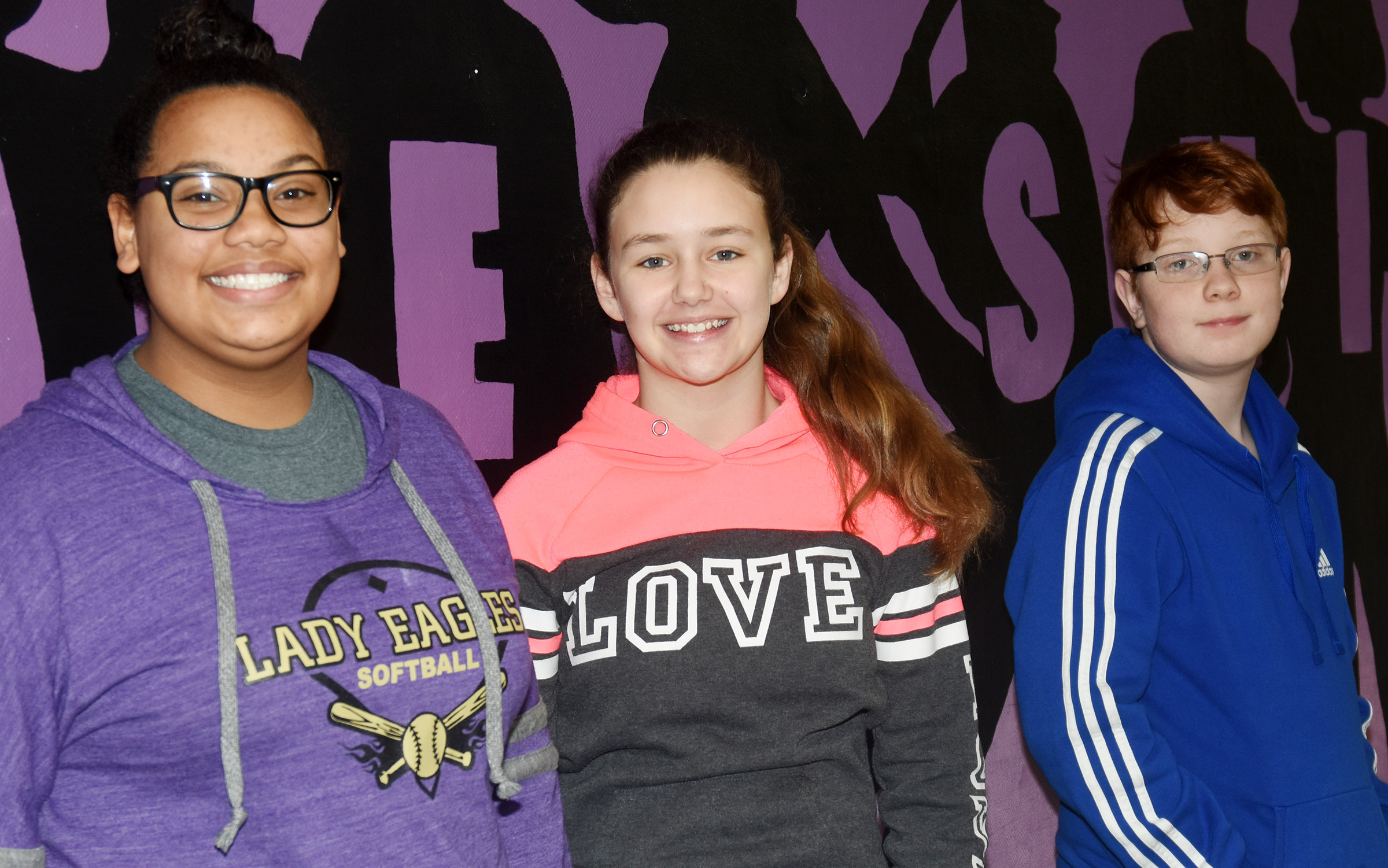 From left are eighth-grader Brae Washington, seventh-grader Haylee Allen and sixth-grader Conner Rinehart.