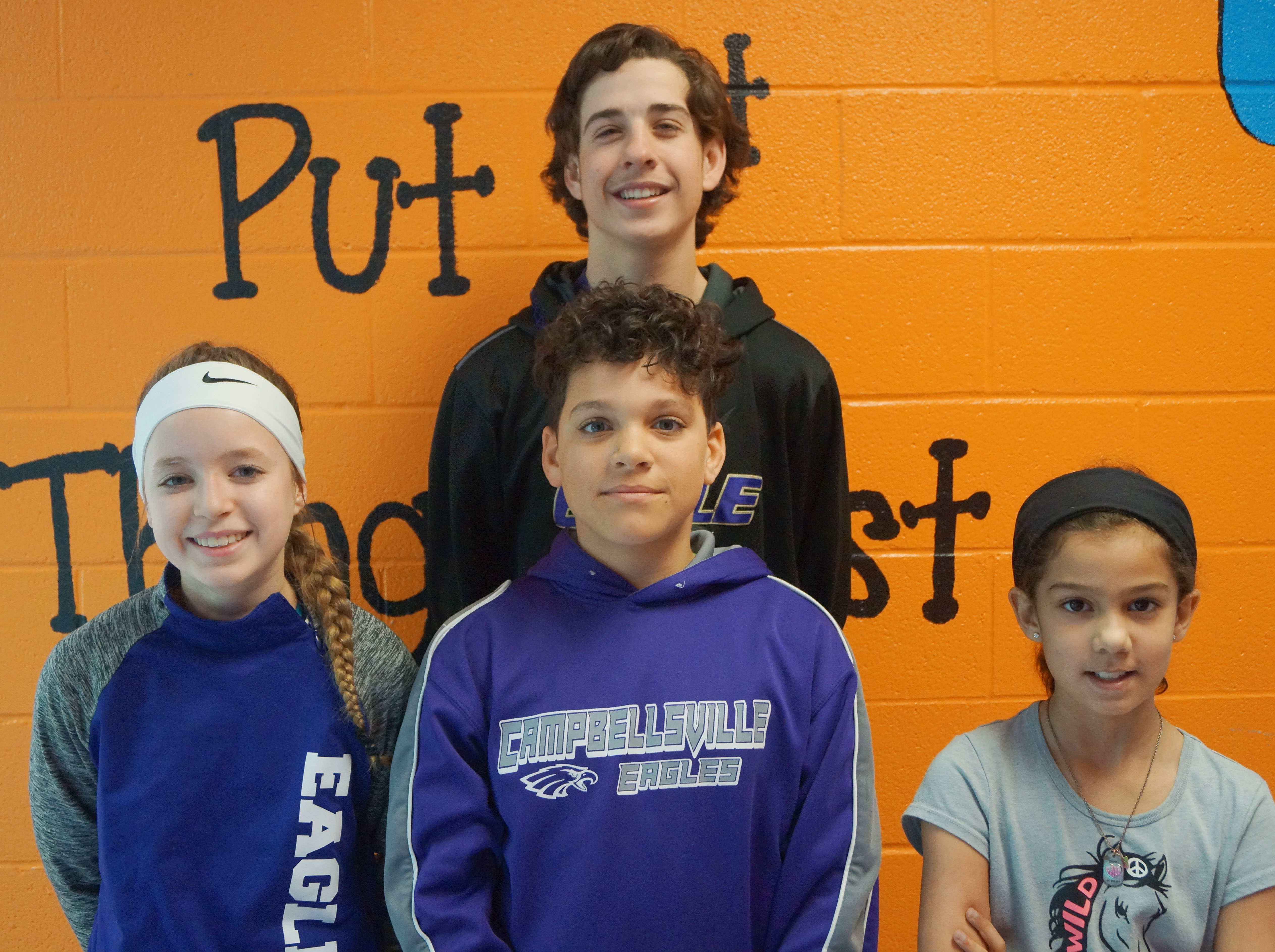 From left are seventh-grader Rylee Petett, sixth-grader Kaydon Taylor, eighth-grader John Orberson and fourth-grader Mackenzie Negron. Not pictured is fifth-grader Conner Rinehart.