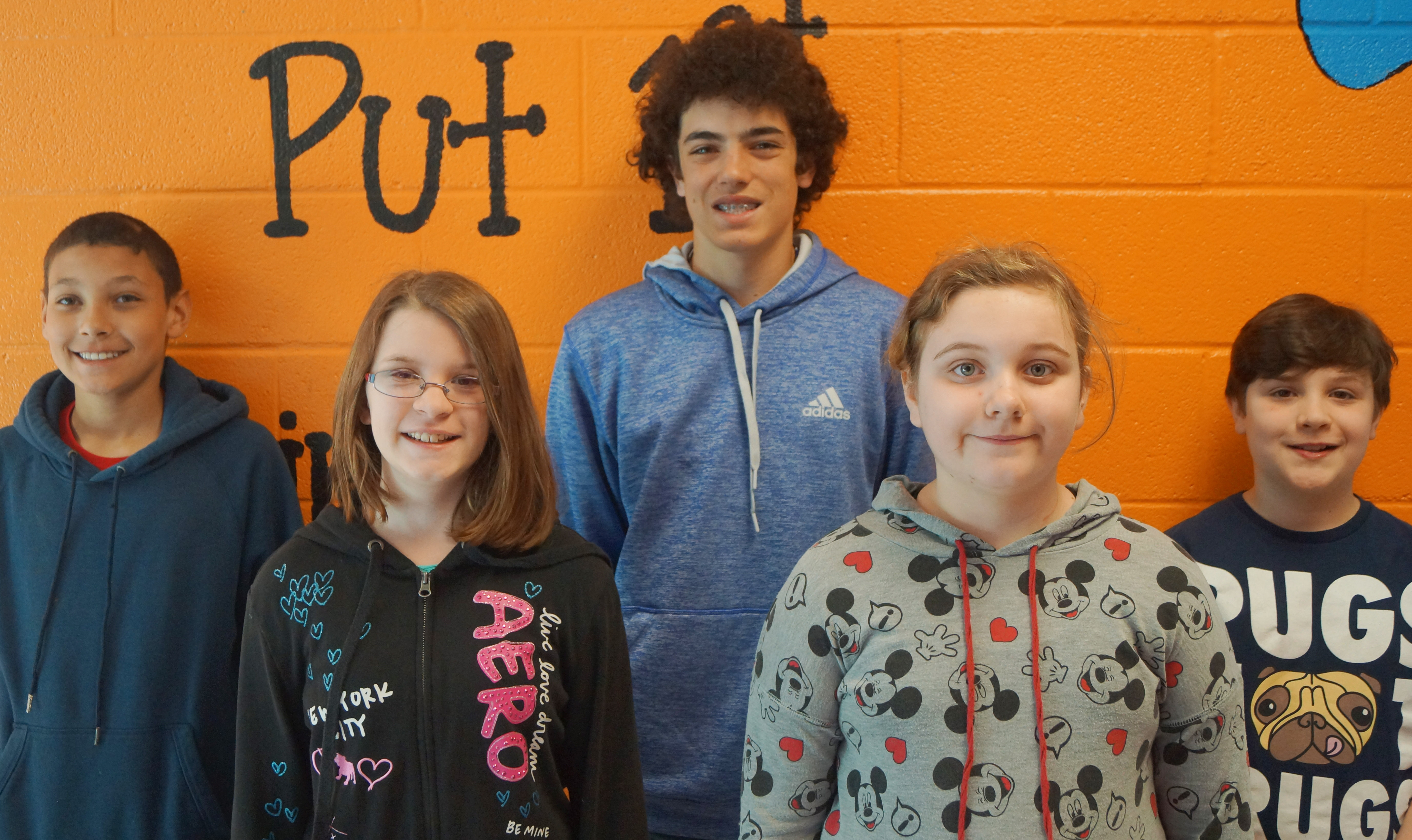 From left are seventh-grader Brice Spaw, sixth-grader Liberty Albrecht, eighth-grader Kameron Smith, fifth-grader Lexi Garvin and fourth-grader Andrew Mardis.