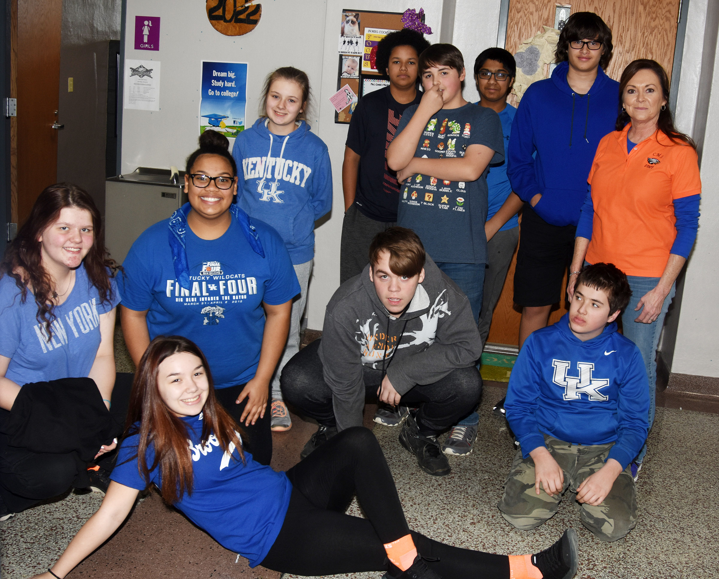 CMS students wear blue and orange in support of Marshall County High School.