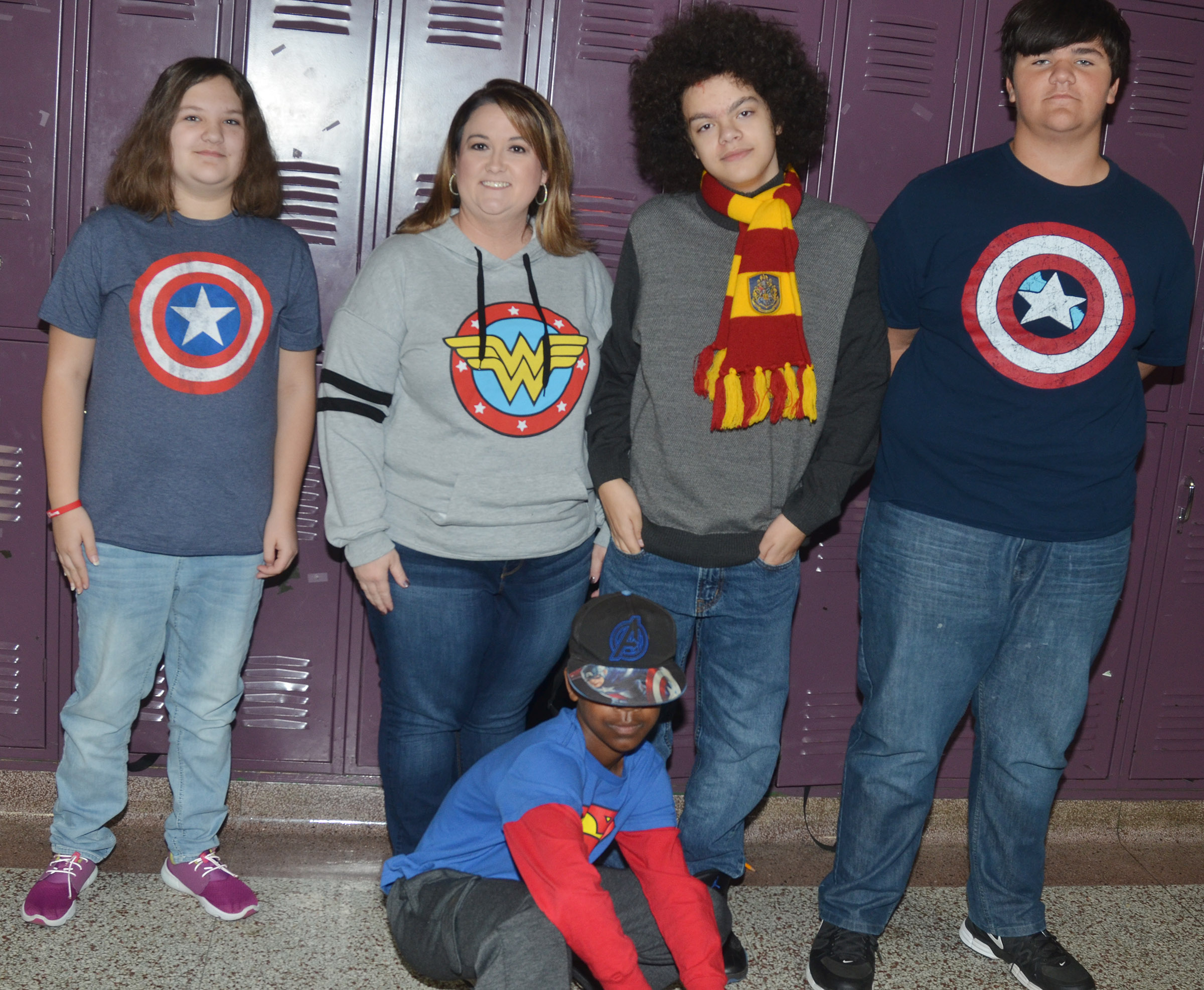 CMS students dress as superheroes for Real Heroes Don't Do Drugs Day.