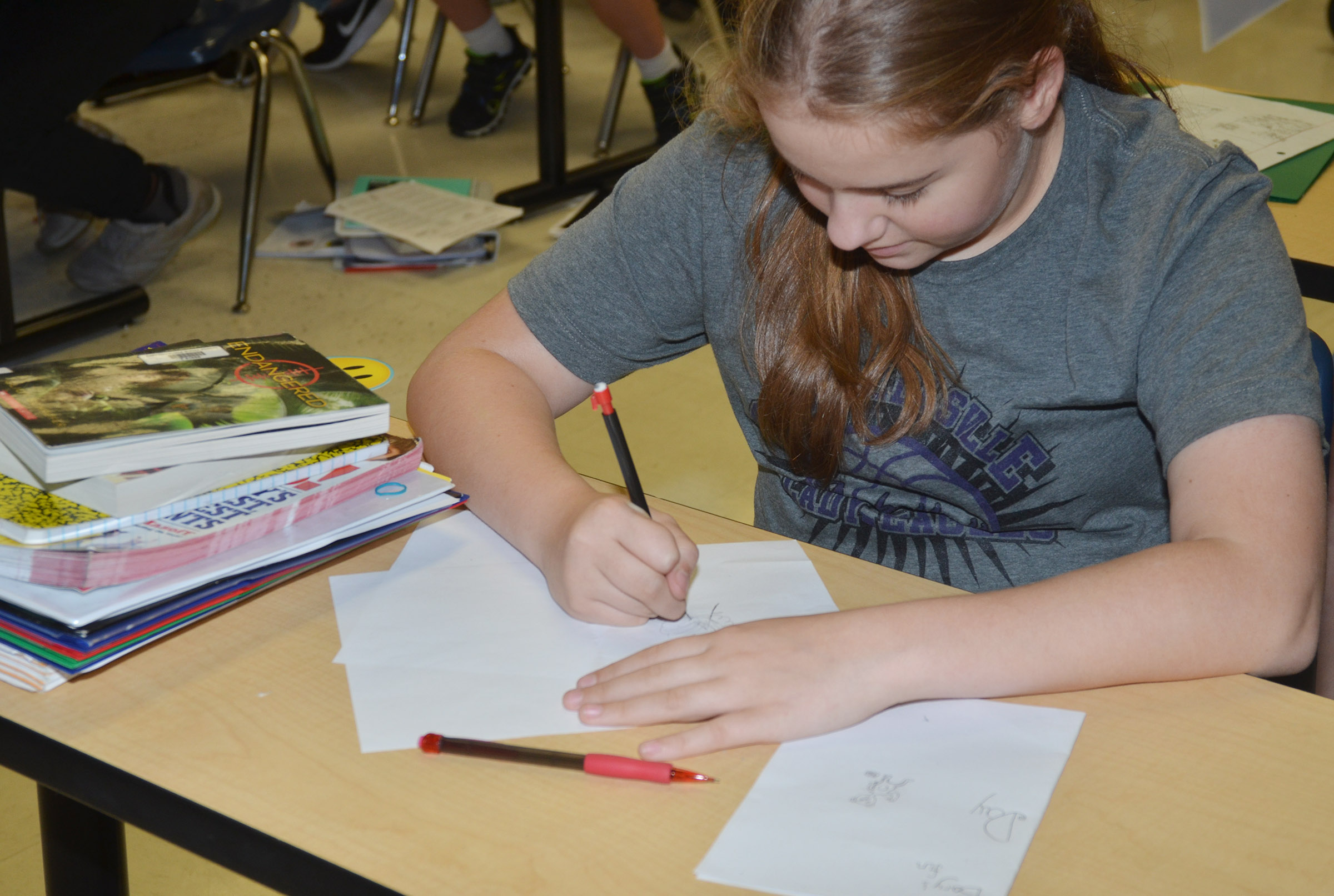 CMS sixth-grader Layla Steen draws her children's book.