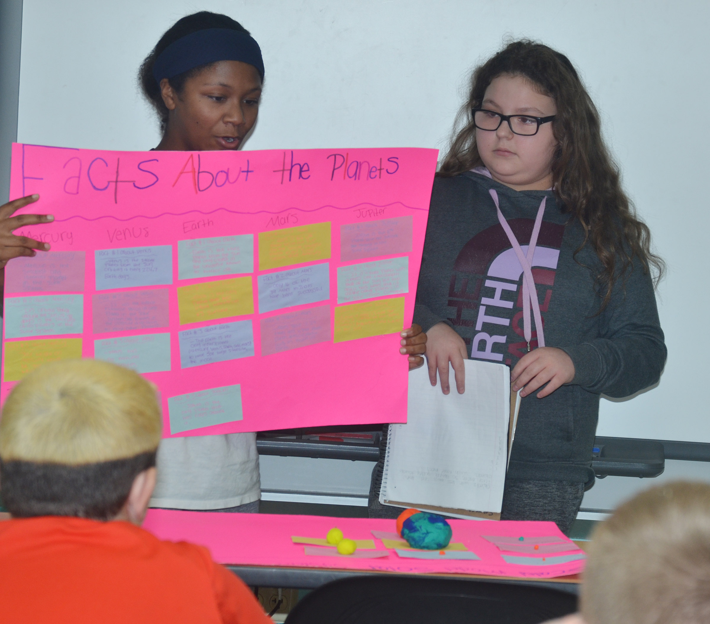 CMS sixth-graders Camilla Taylor, at left, and Chloe Mitchell talk about the solar system.