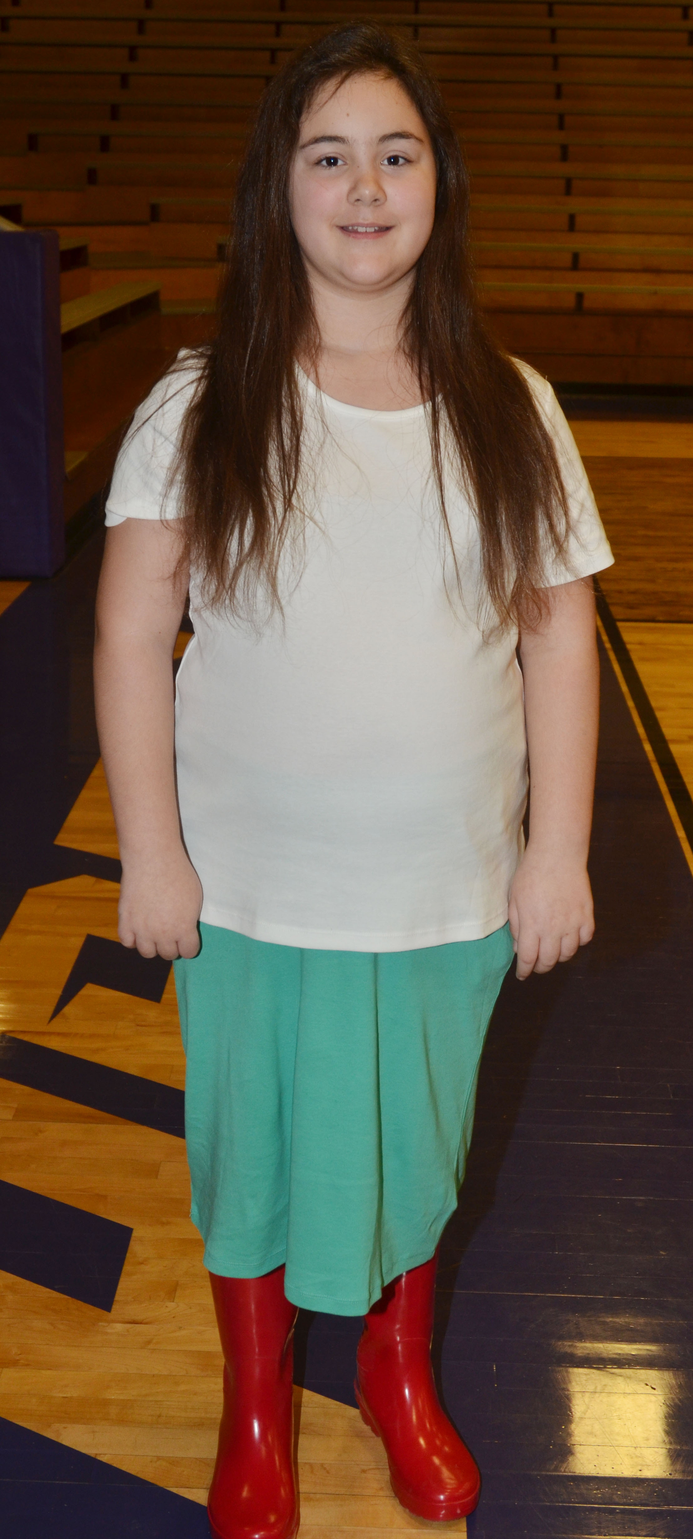 CMS fifth-grader Brianna Dobson dresses for TV and Movie Character Day.