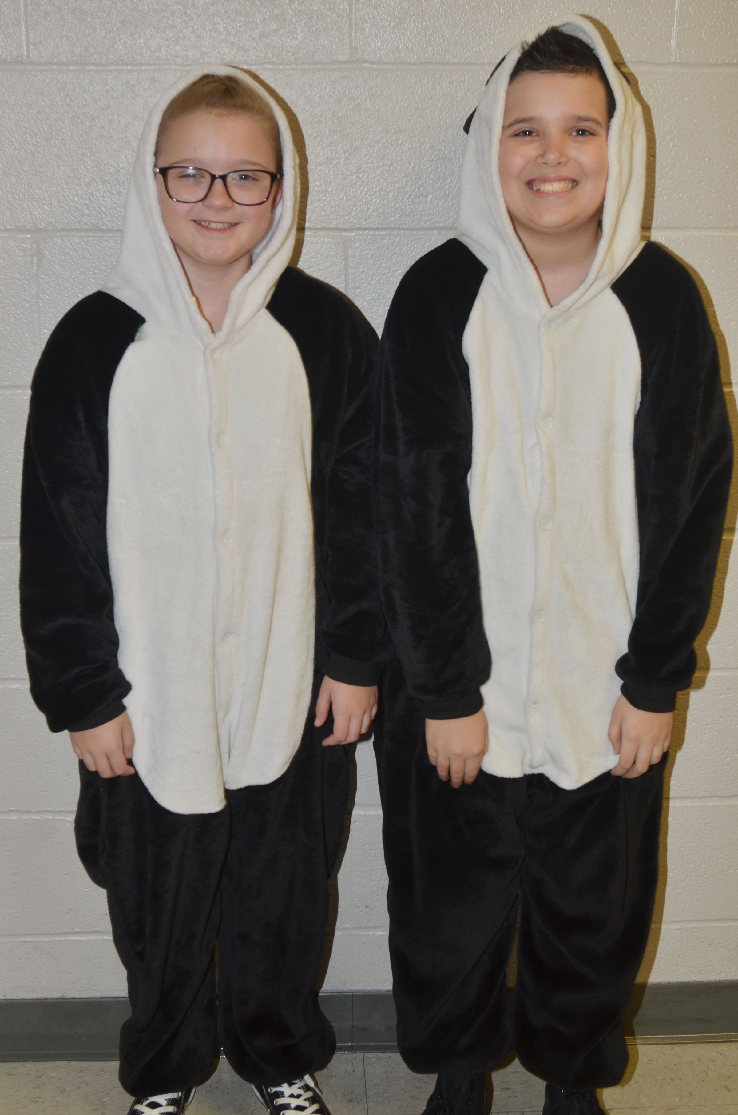 CMS fifth-graders Lillee Byrne, at left, and Chase Lawless dress for Dynamic Duo Day.