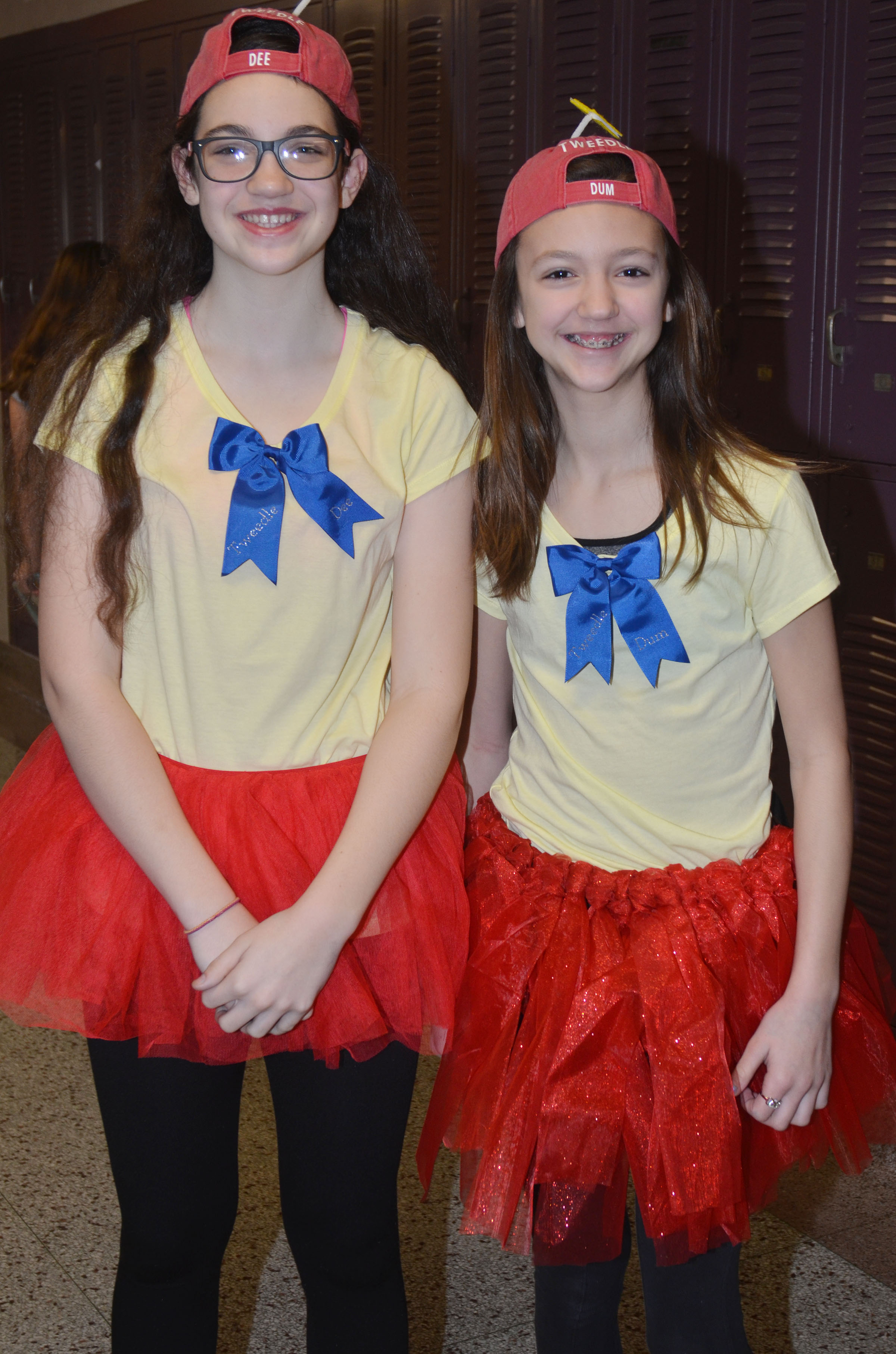 CMS sixth-graders Mary Russell, at left, and Bri Hayes dress for Dynamic Duo Day.