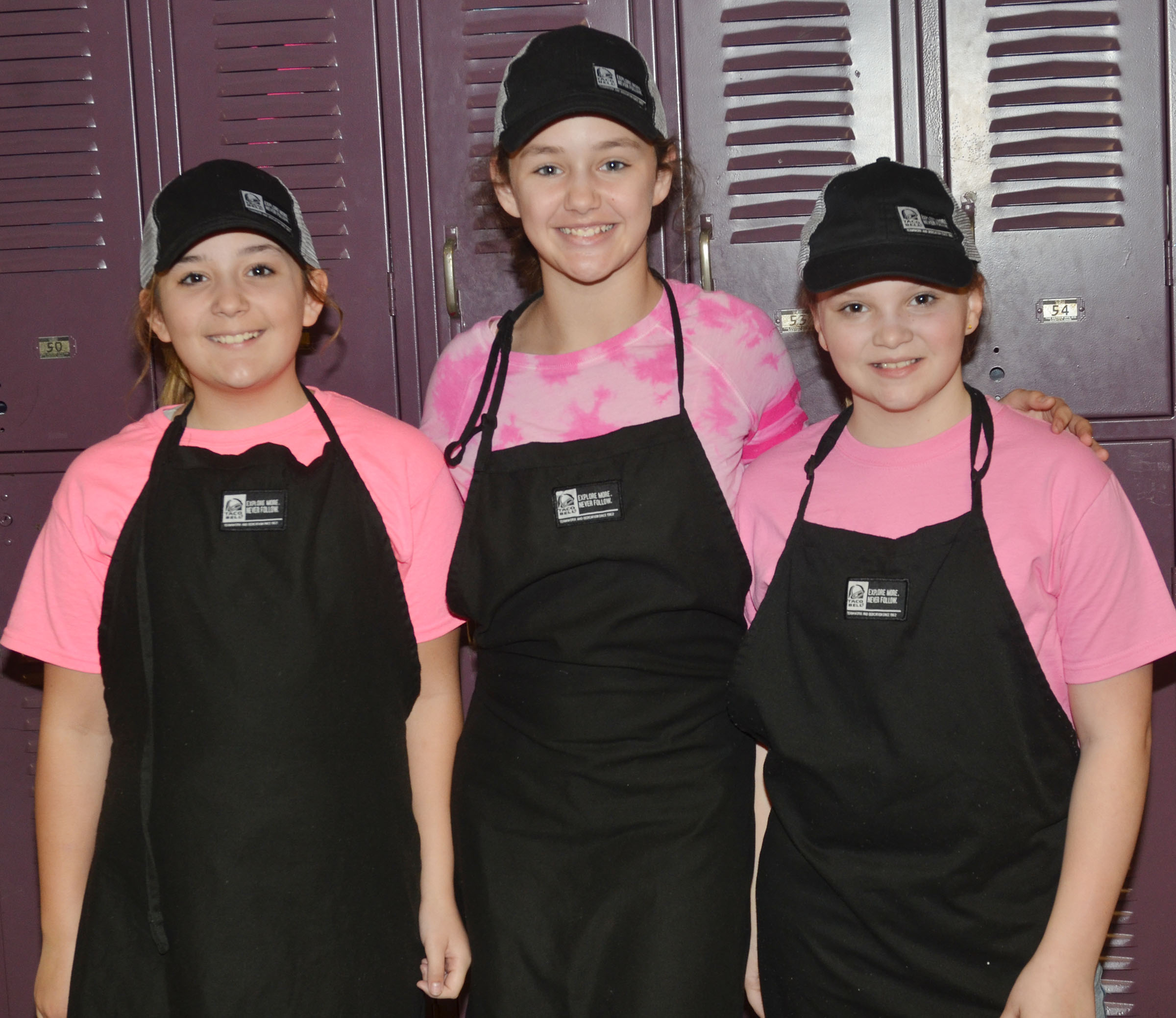From left, CMS sixth-graders Briana Davis, Haylee Allen and Graci Crews dress for Dynamic Duo Day.
