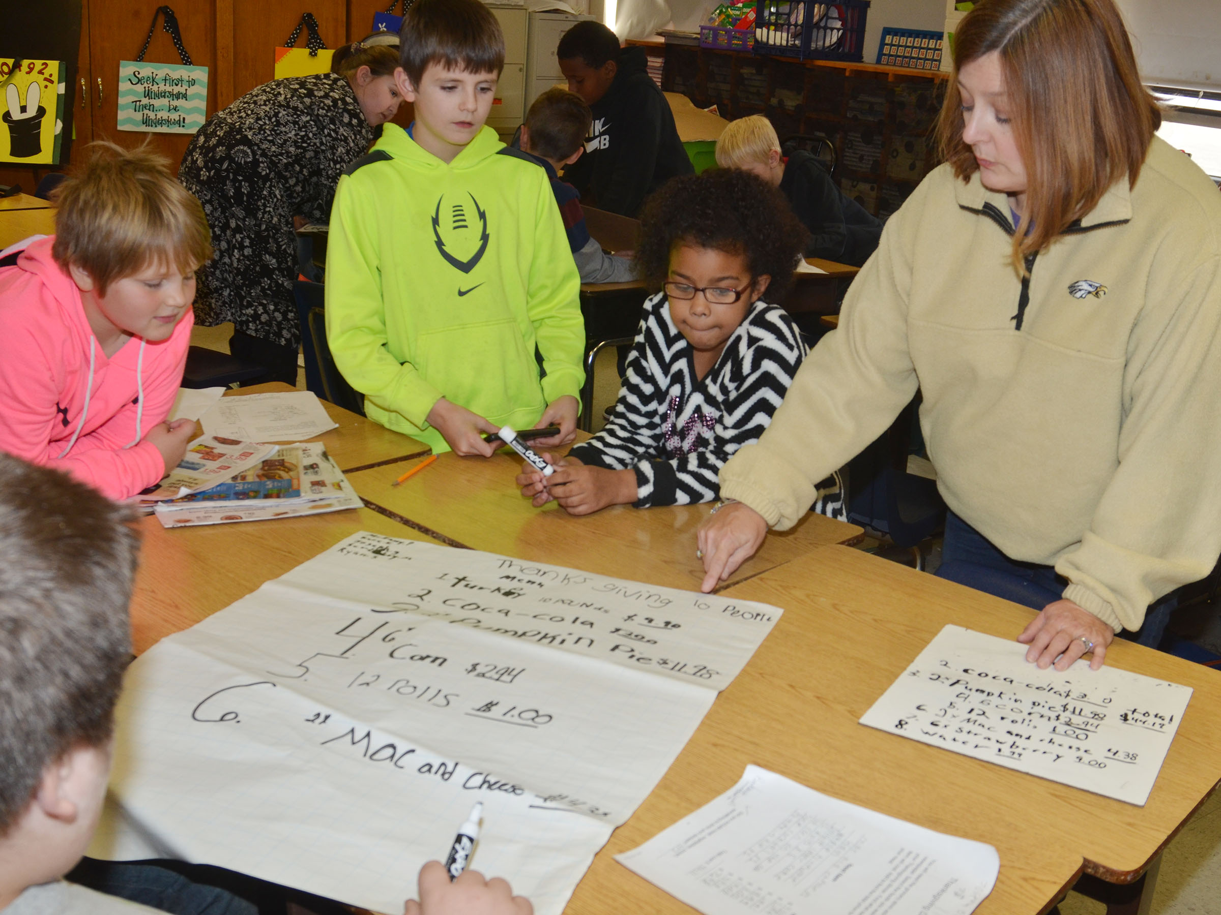 CMS fourth-grade math teacher Garnetta Murrell discusses with her students how much a Thanksgiving meal can cost.