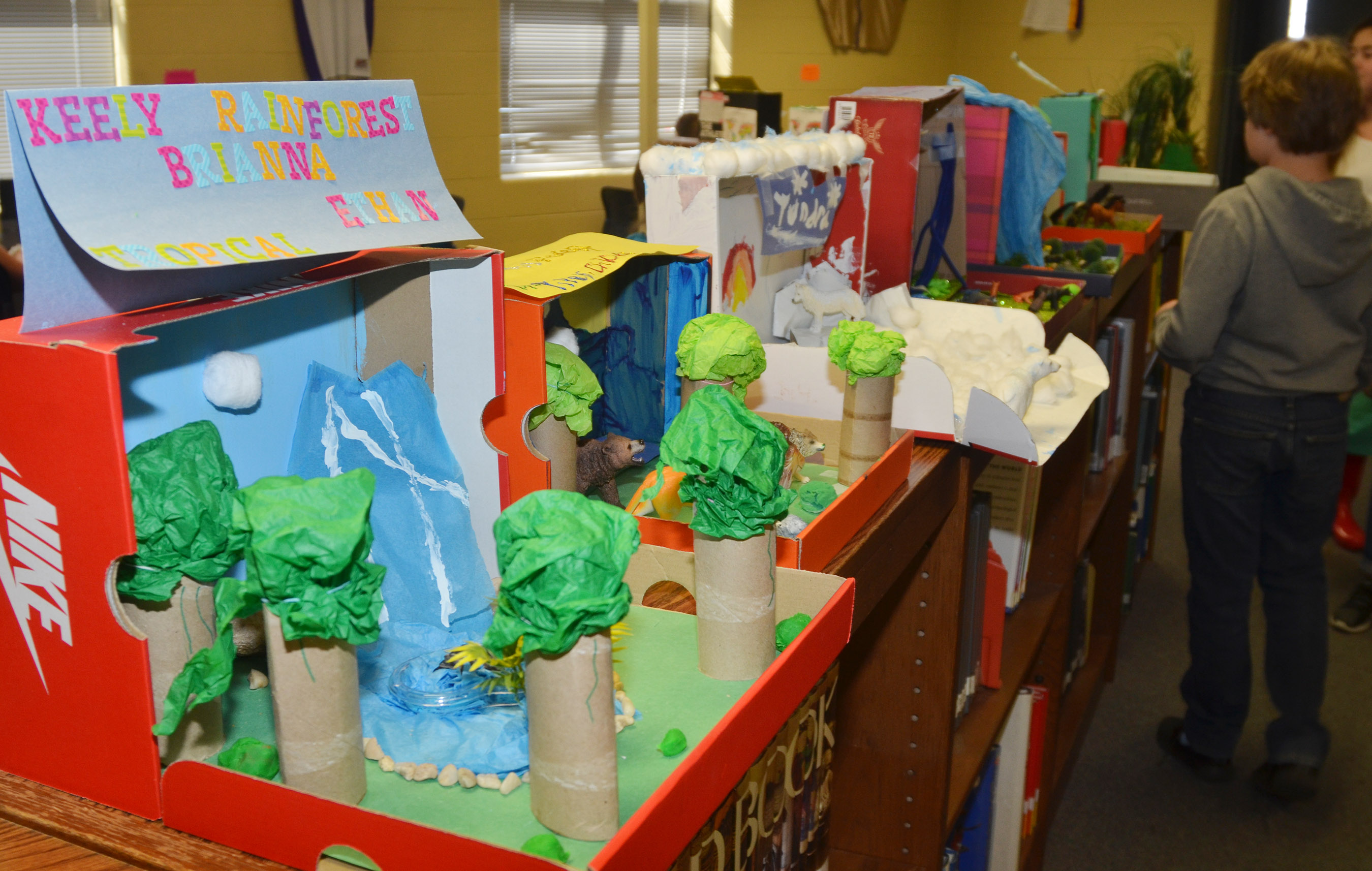 CMS students display their ecosystem models.