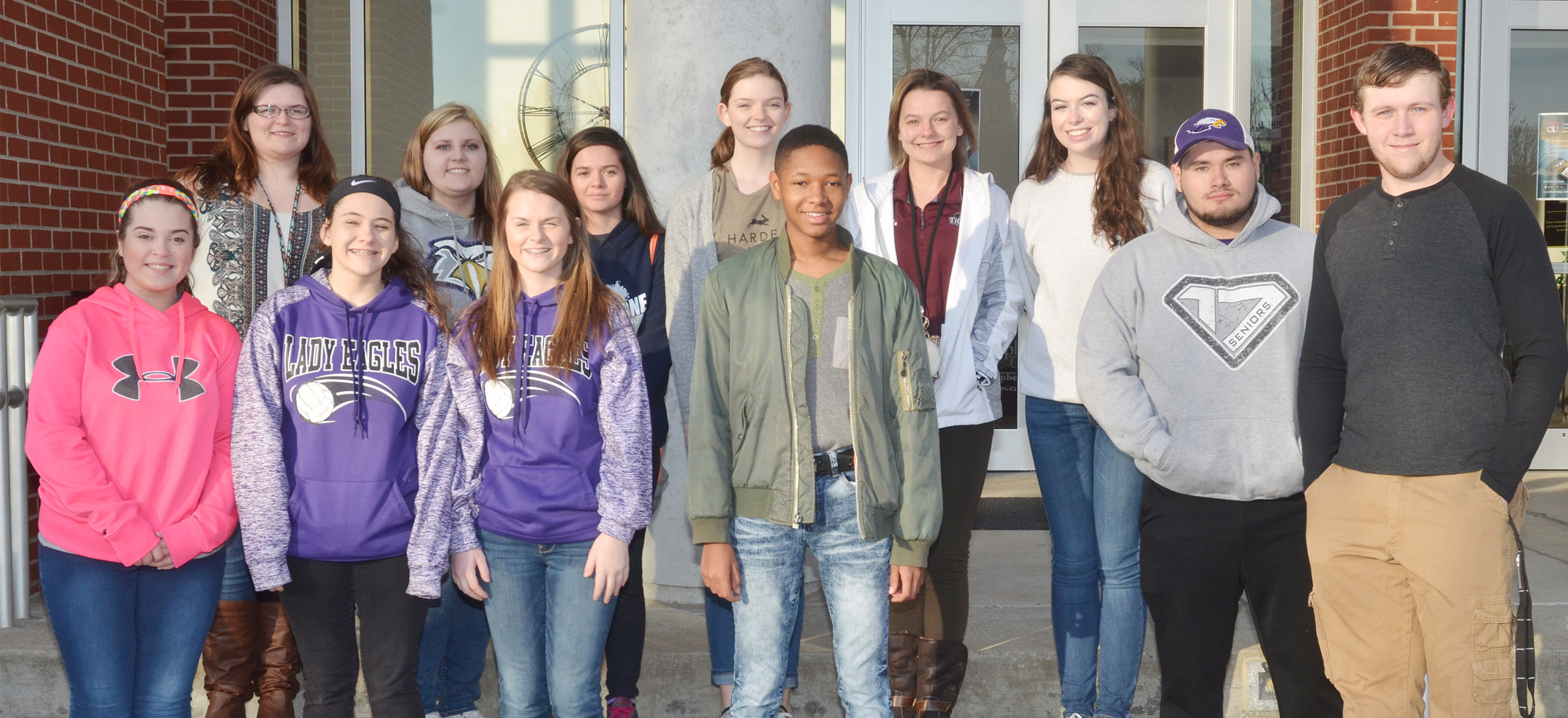 Campbellsville middle and high school students attending the Campbellsville University Mass Communication Workshop are, from left, front eighth-graders Chloe Garrett, Kaylee Reynolds and Taylor Knight and seniors Jaleel Cowan, Logan Brown and Jared Brewster. Back, senior Vera Brown, sophomore Andrea Bryant and seniors Shauna Jones, Blair Lamb, Kyrsten Hill and Laura Lamb. CHS junior Austin Fitzgerald is absent from the photo.