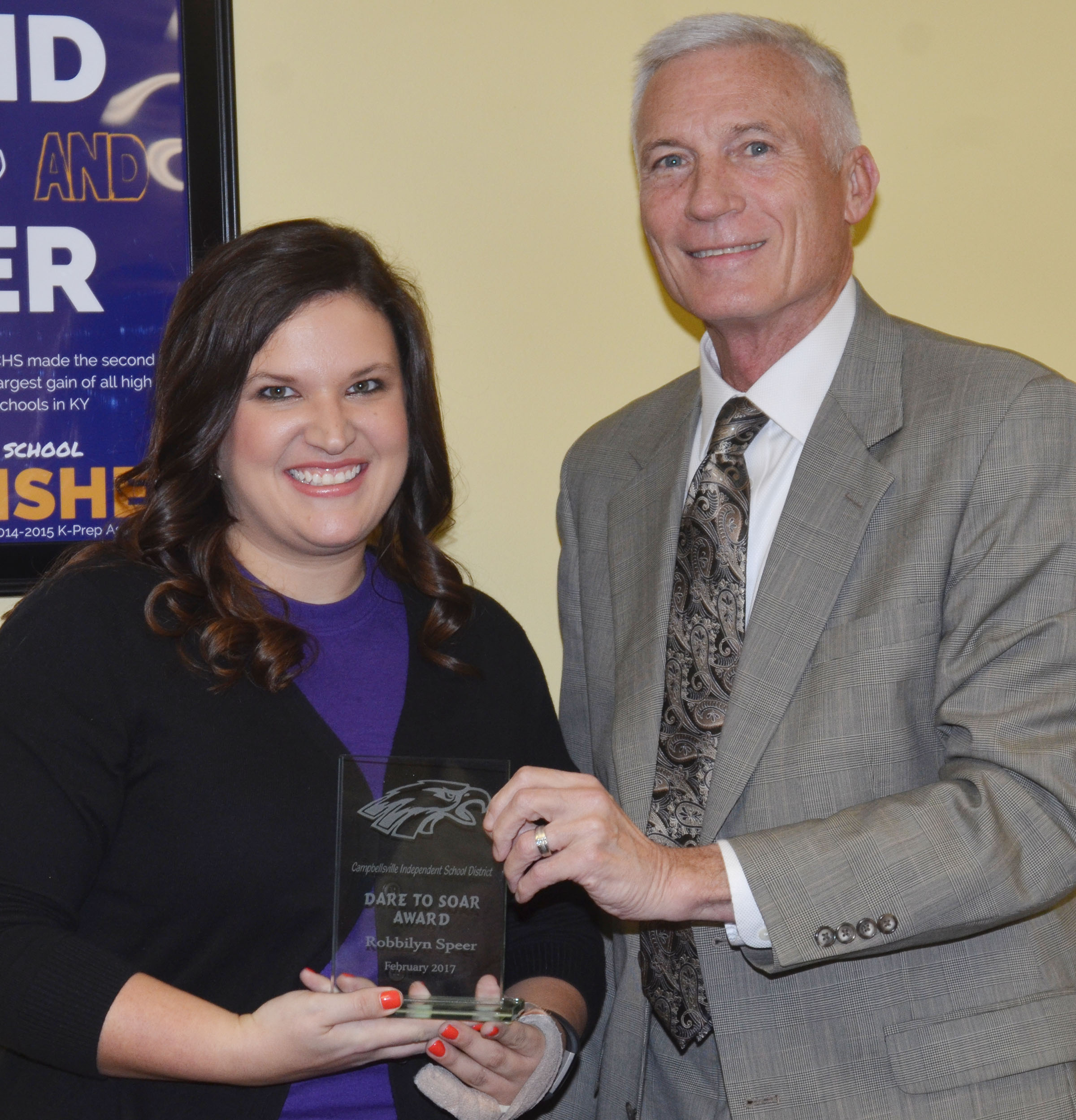 CMS eighth-grade teacher Robbilyn Speer received the Dare to Soar award at the Campbellsville Board of Education's regular meeting on Monday, Feb. 13. Campbellsville Independent Schools Superintendent Mike Deaton made the presentation.